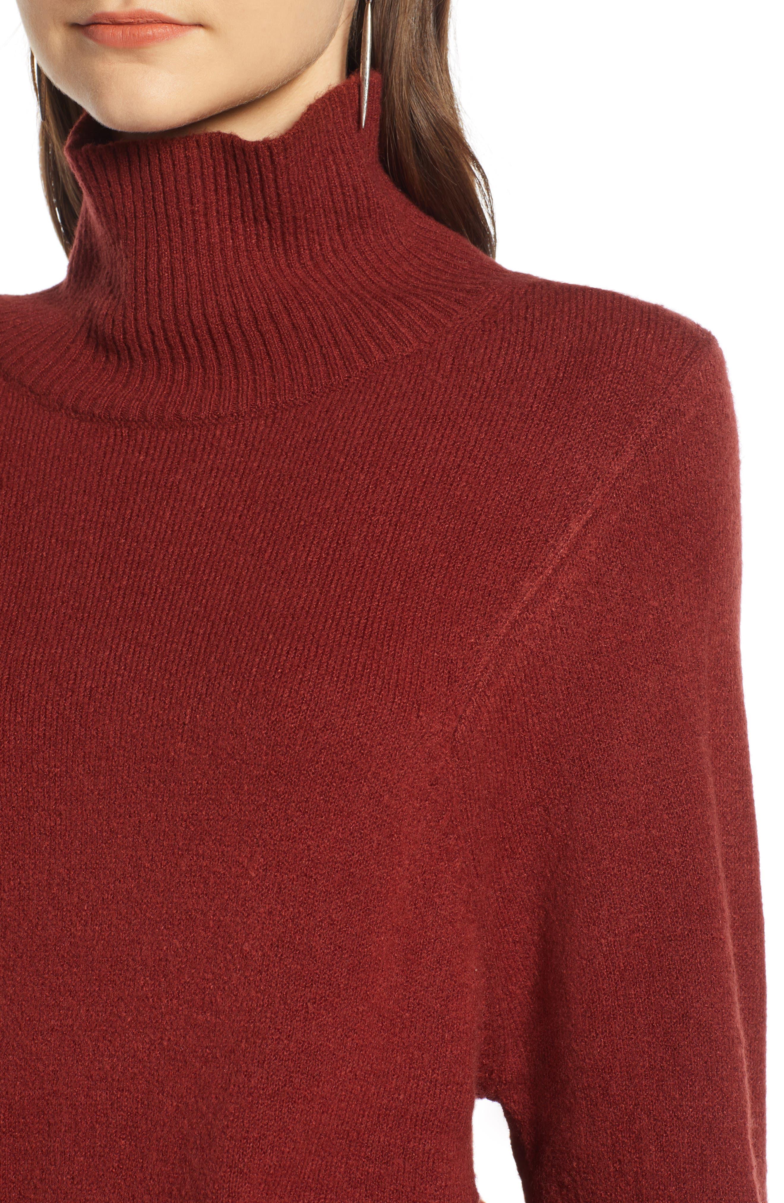 Seasonal Pullover Sweater,                             Alternate thumbnail 4, color,                             BURGUNDY RUSSET
