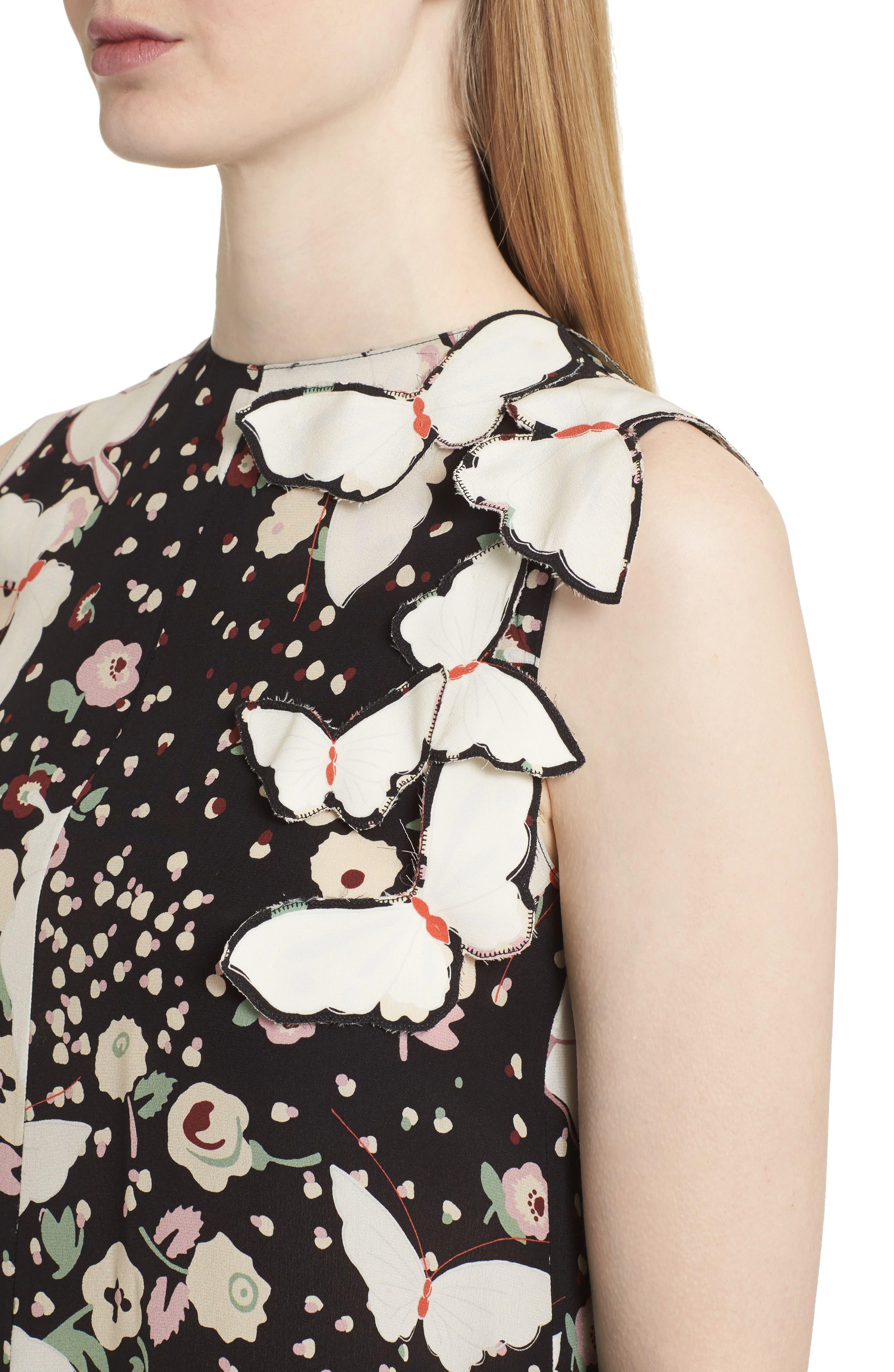 Pop Butterfly Appliqué Silk Crêpe de Chine Dress,                             Alternate thumbnail 4, color,                             001