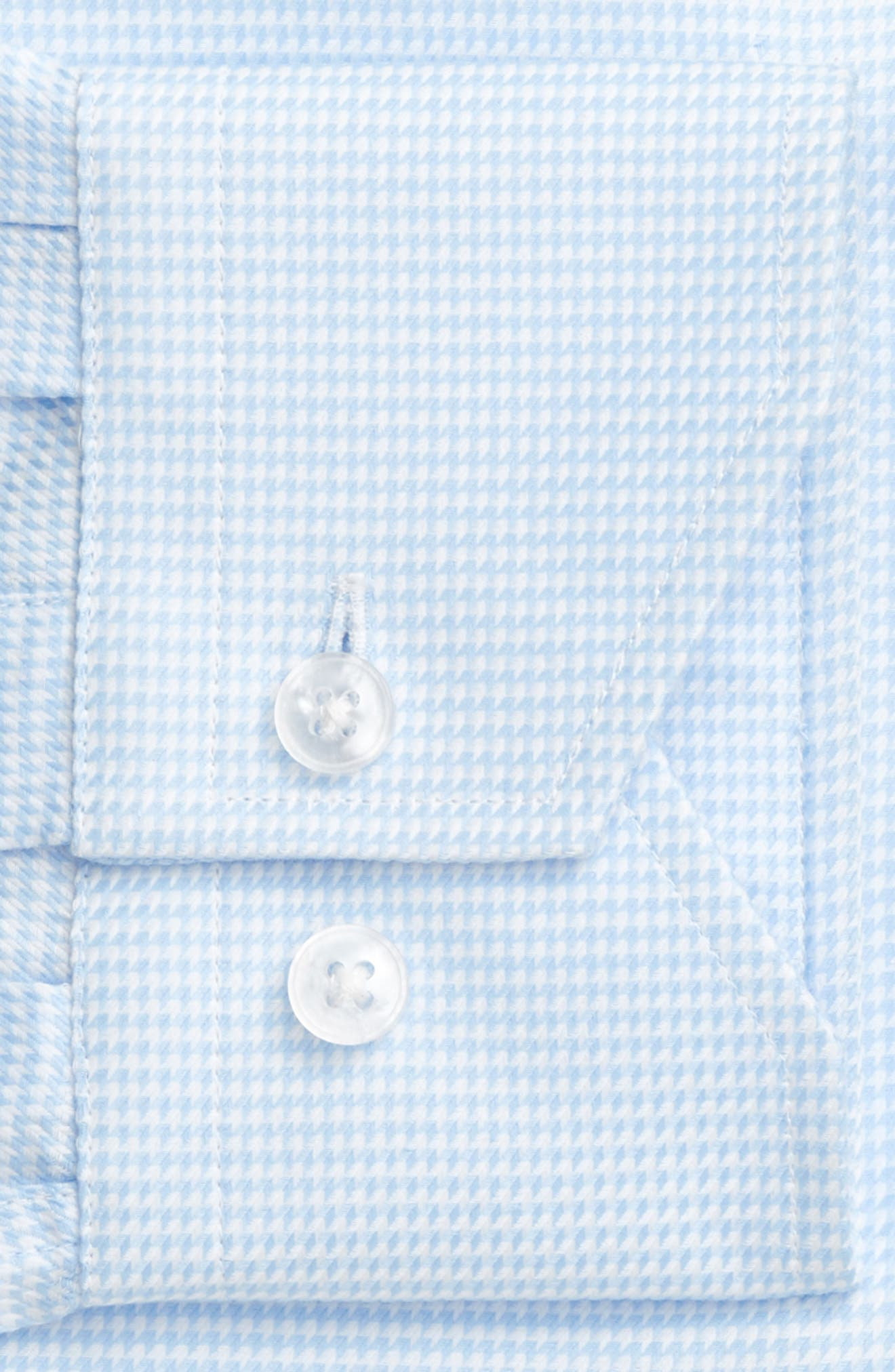 Trim Fit Houndstooth Dress Shirt,                             Alternate thumbnail 4, color,                             LIGHT BLUE