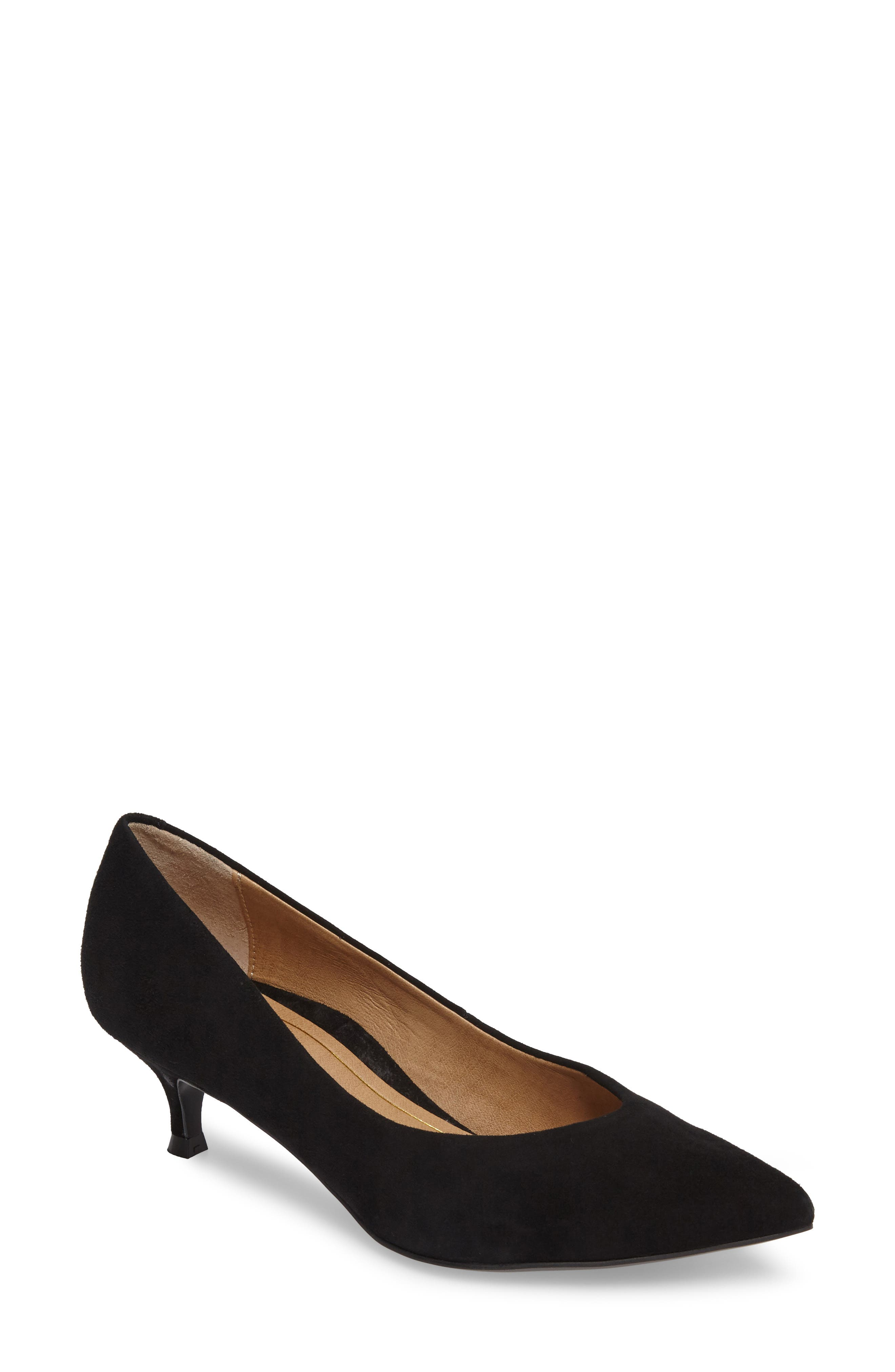 Josie Kitten Heel Pump,                             Main thumbnail 1, color,                             BLACK SUEDE