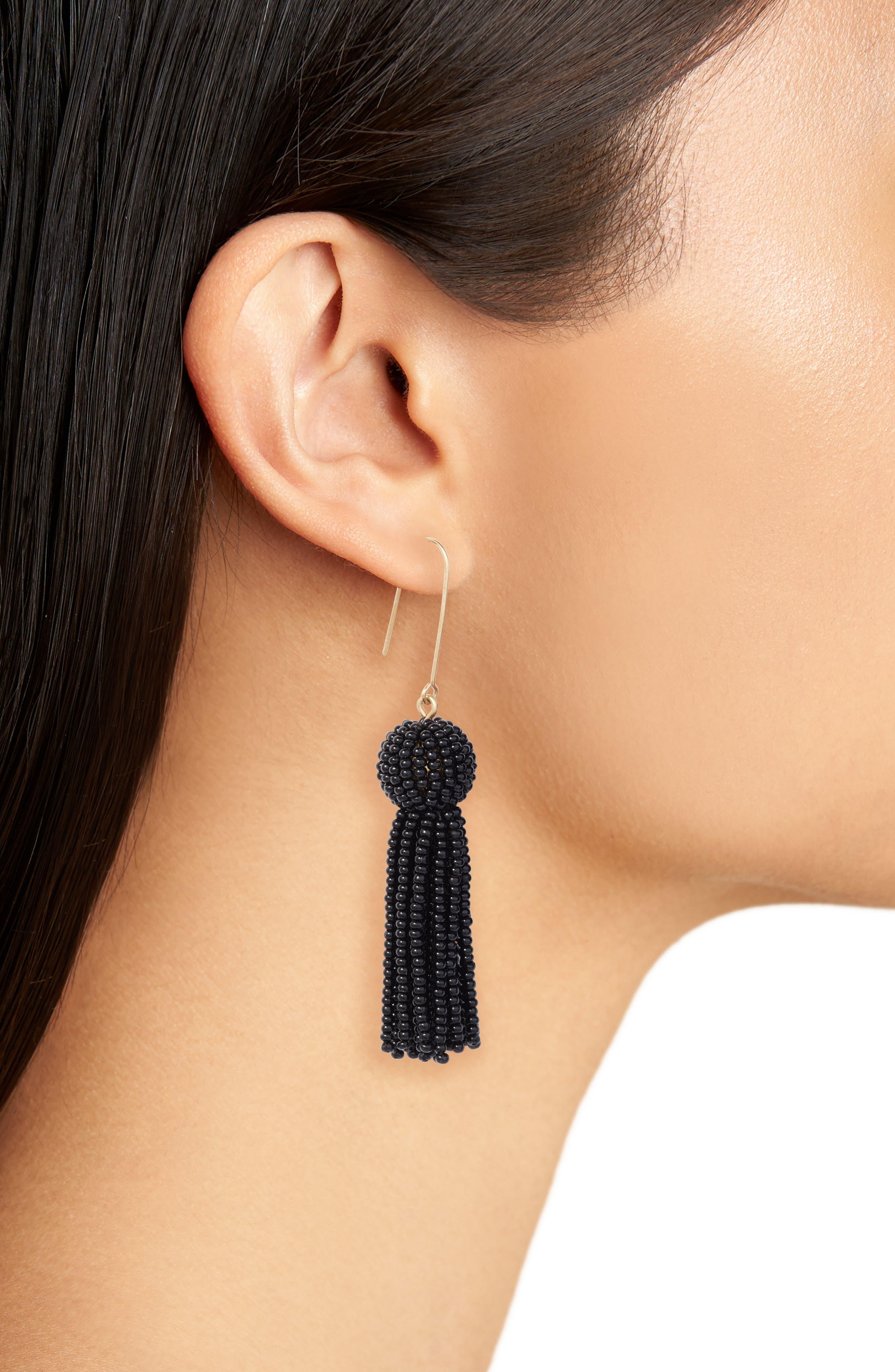 Bead Tassel Drop Earrings,                             Alternate thumbnail 2, color,                             001