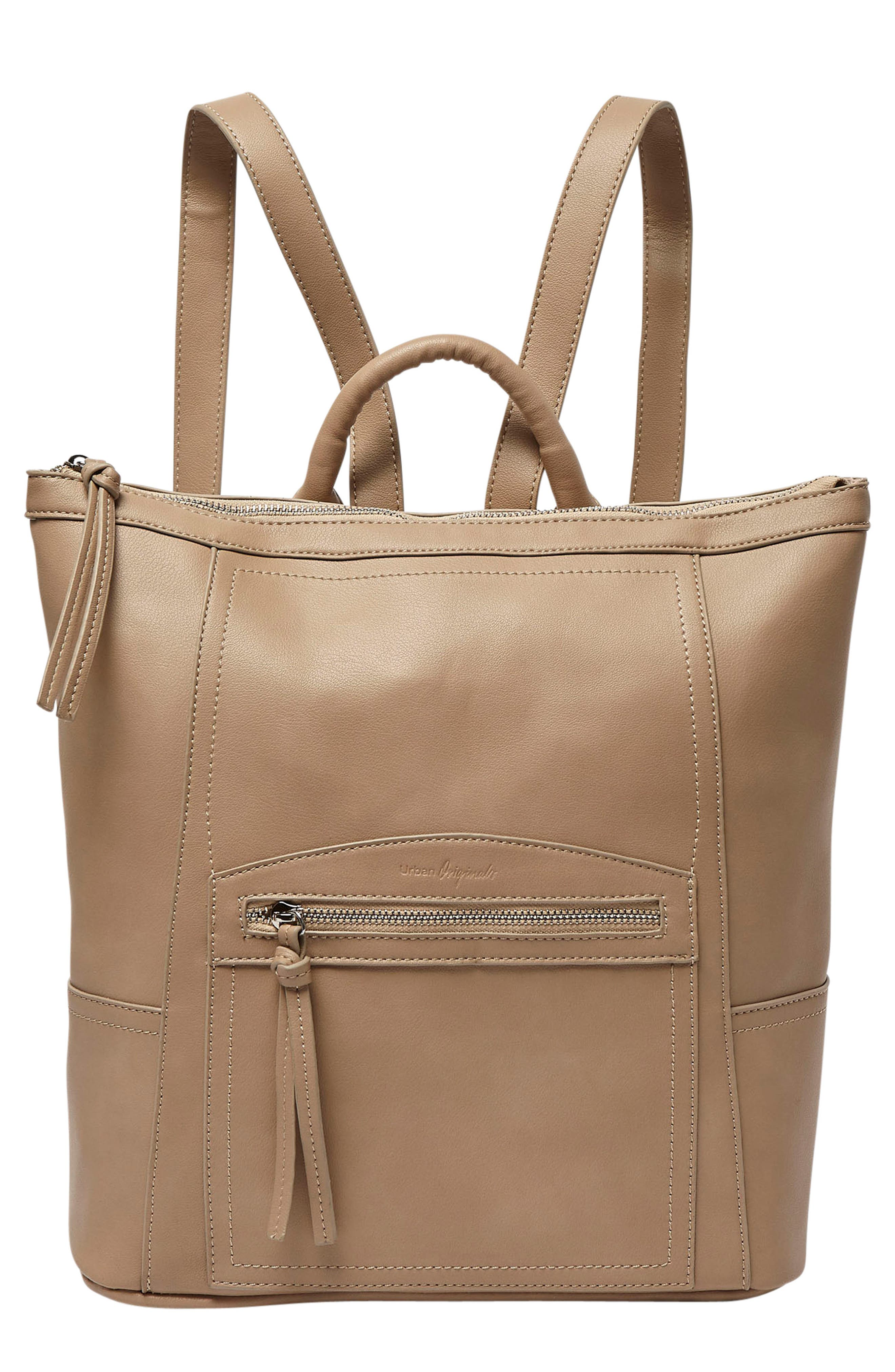 Eternity Vegan Leather Backpack - Brown in Taupe