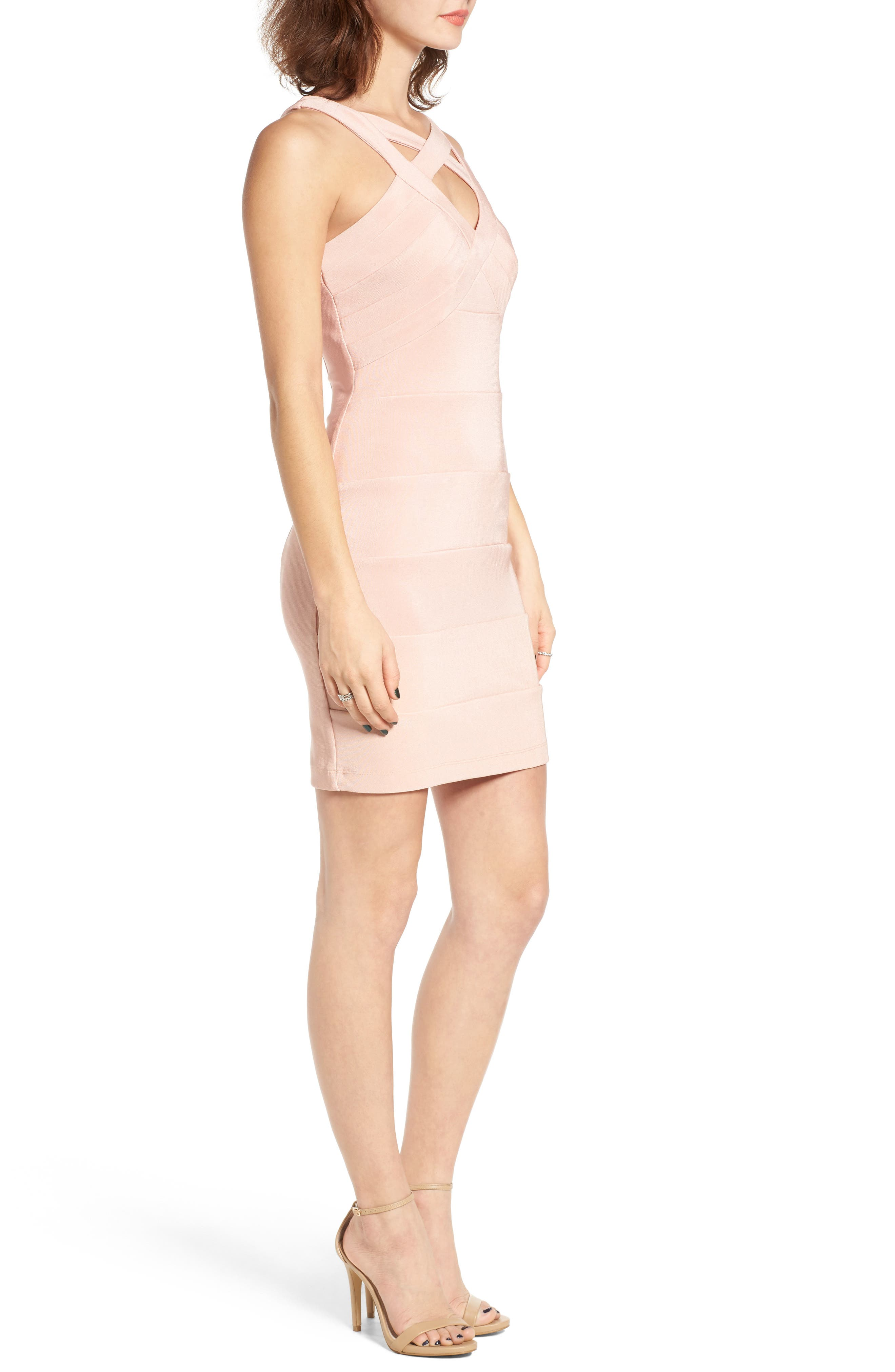Cross Front Body-Con Dress,                             Alternate thumbnail 16, color,