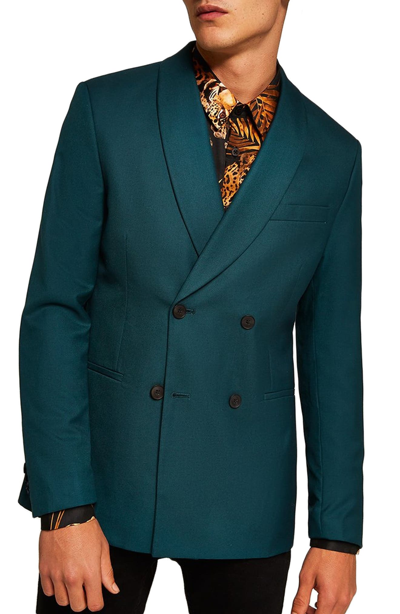 Skinny Fit Double Breasted Blazer,                             Main thumbnail 1, color,                             300