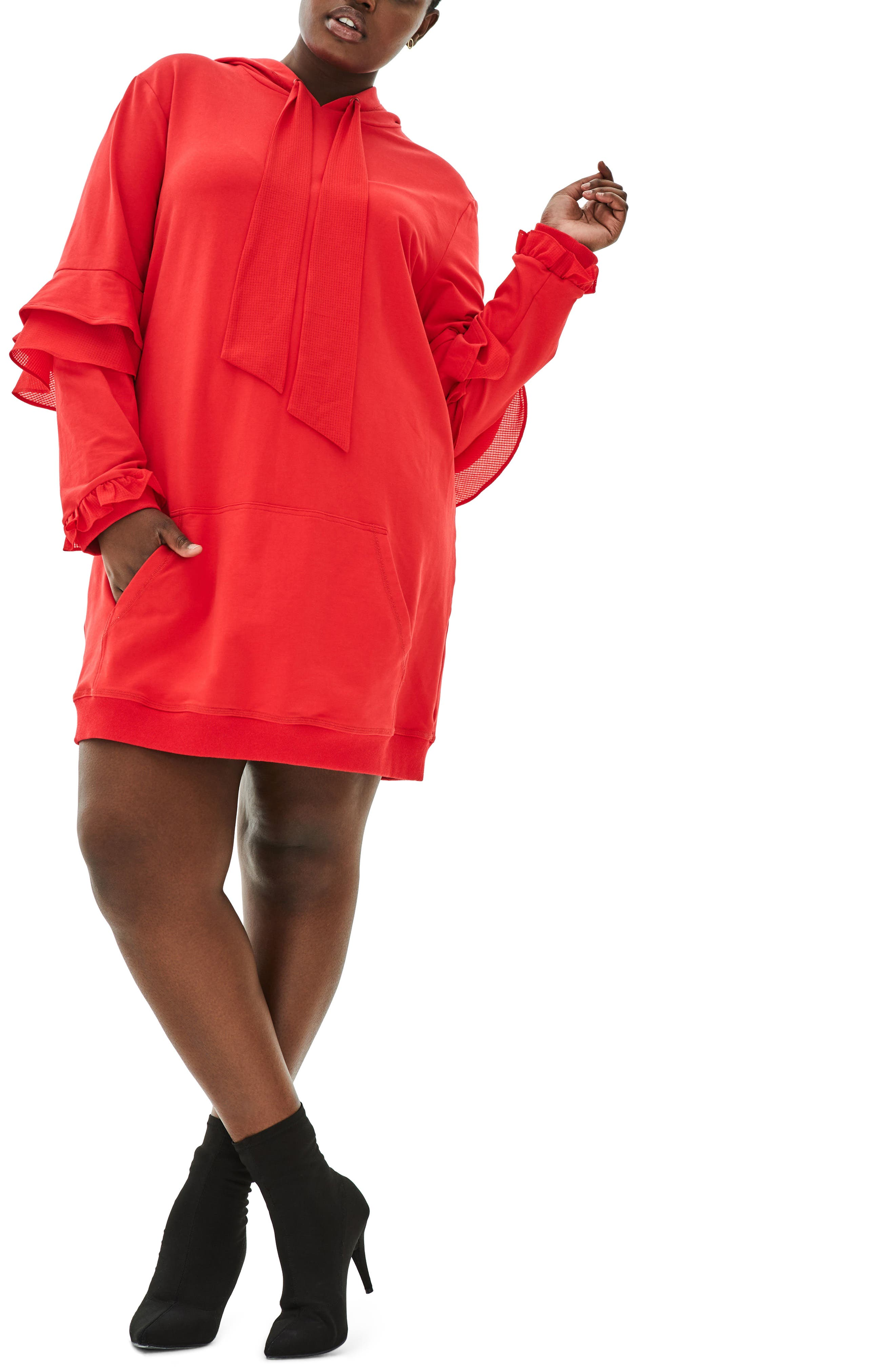 The Snapdragon Ruffle Sleeve Hoodie Dress,                         Main,                         color, RED