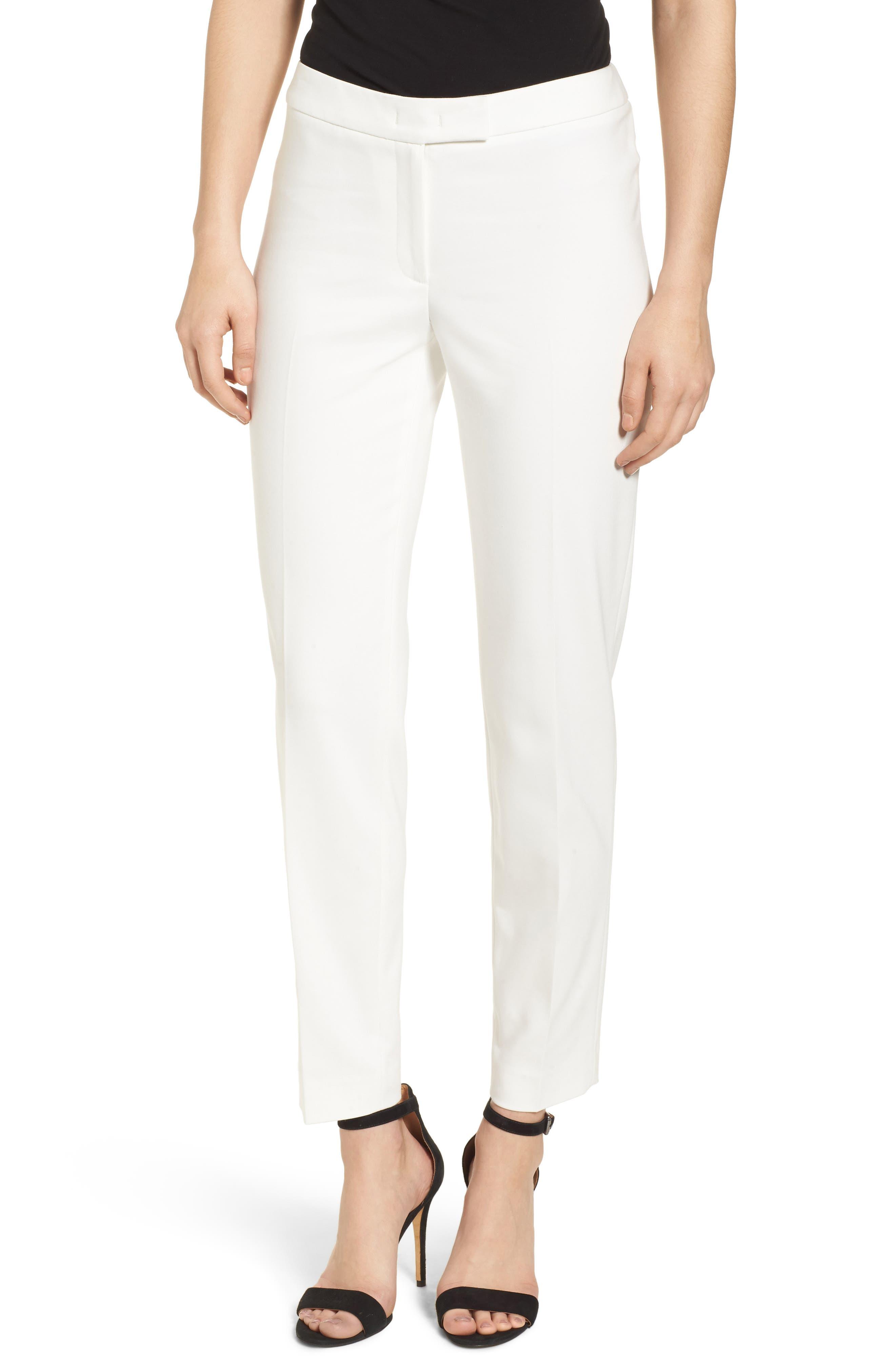 Bowie Cotton Blend Suit Pants,                         Main,                         color, WHITE