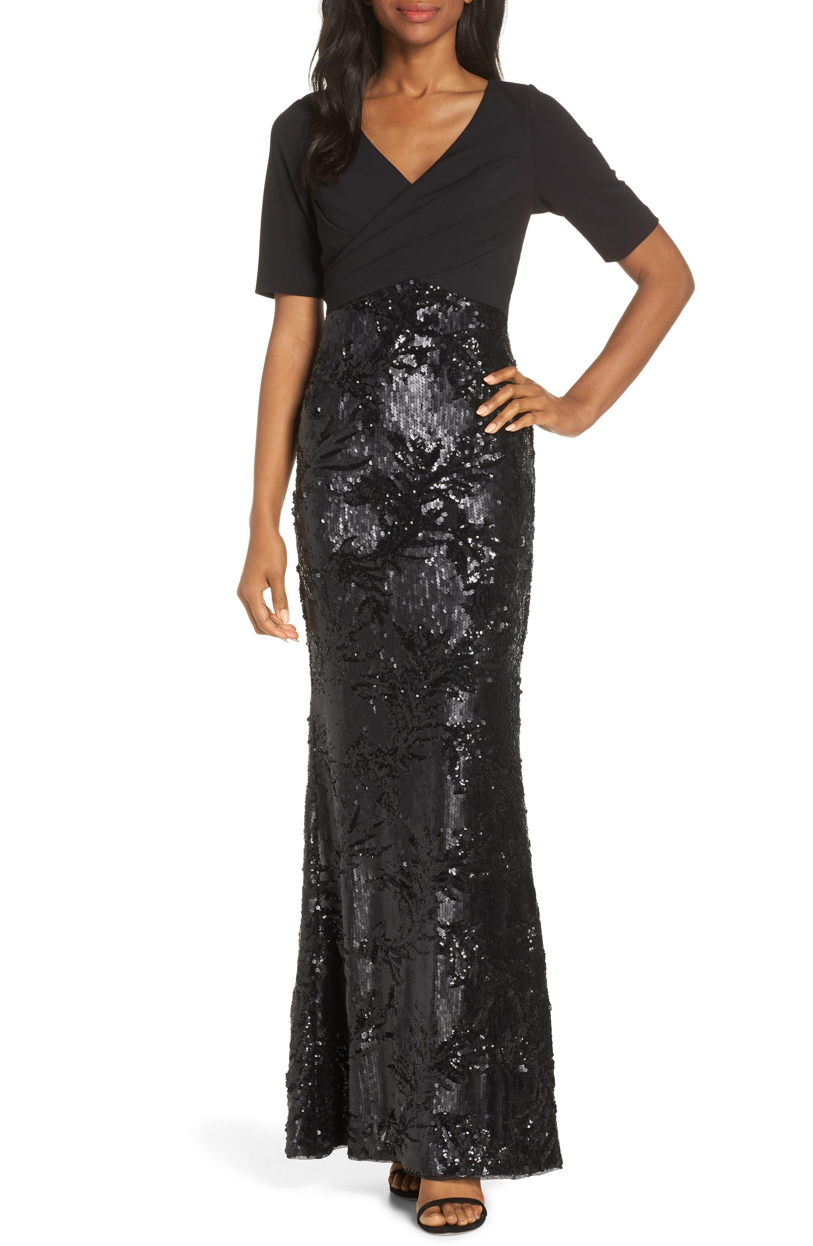 Adrianna Papell Sequin Skirt Evening Dress, Black