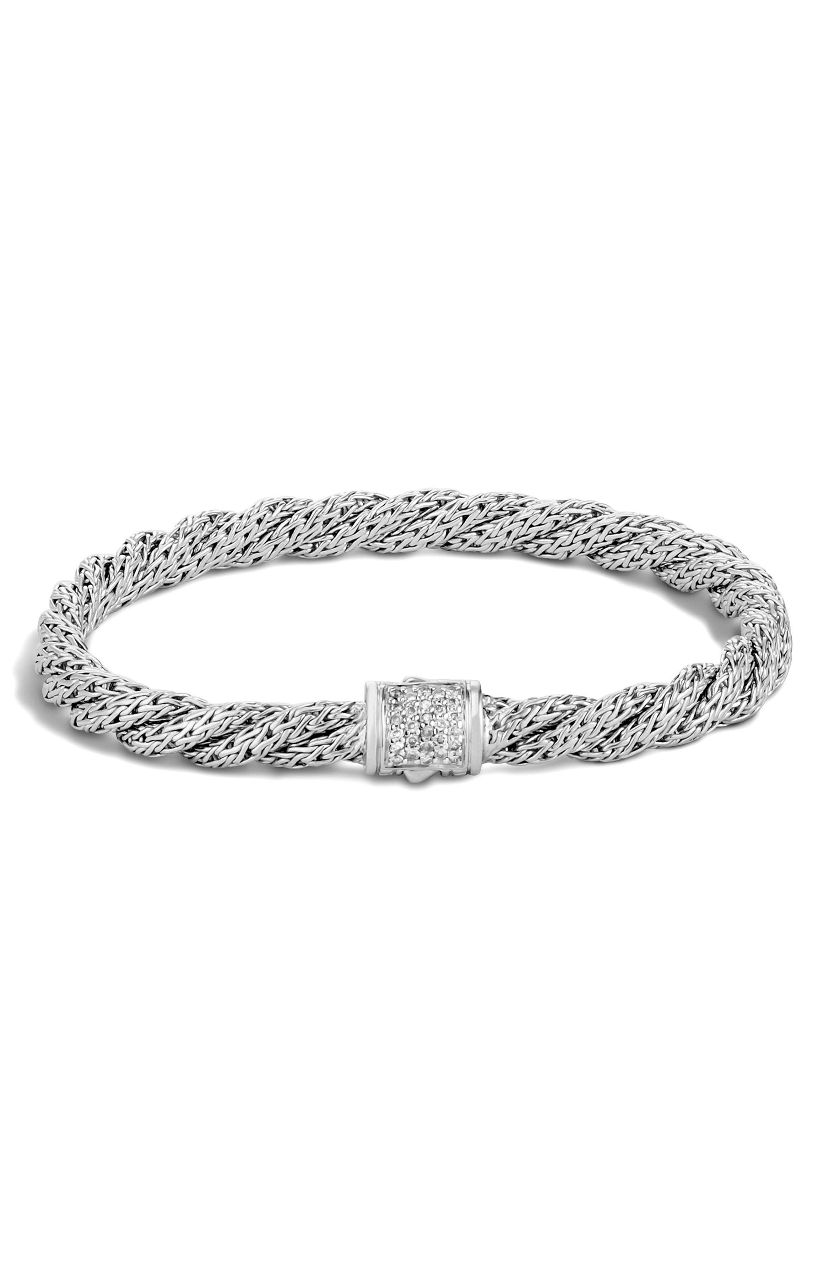 Twist Chain 5mm Bracelet with Diamonds,                         Main,                         color, SILVER/ DIAMOND