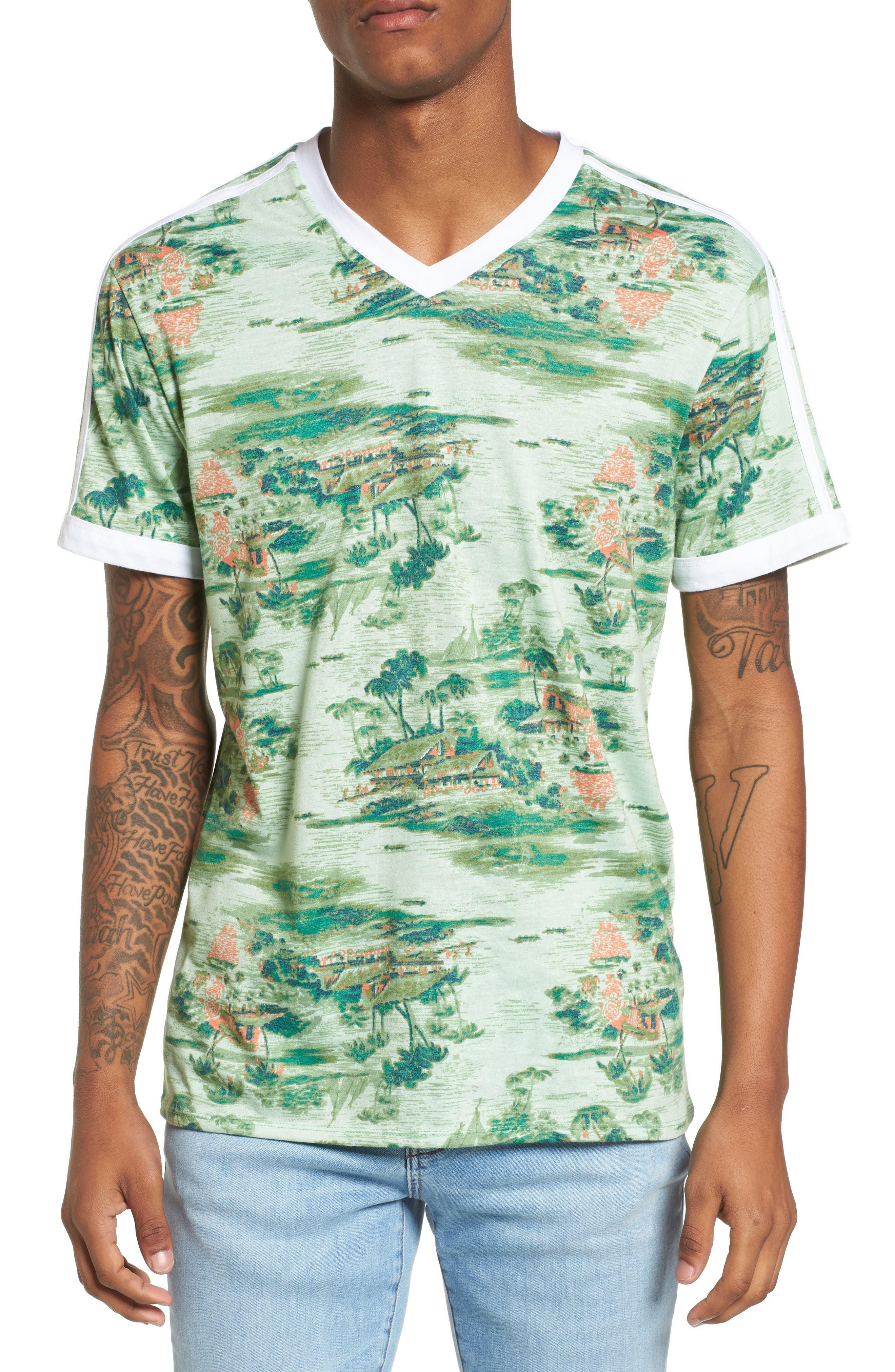Print V-Neck T-Shirt,                         Main,                         color,