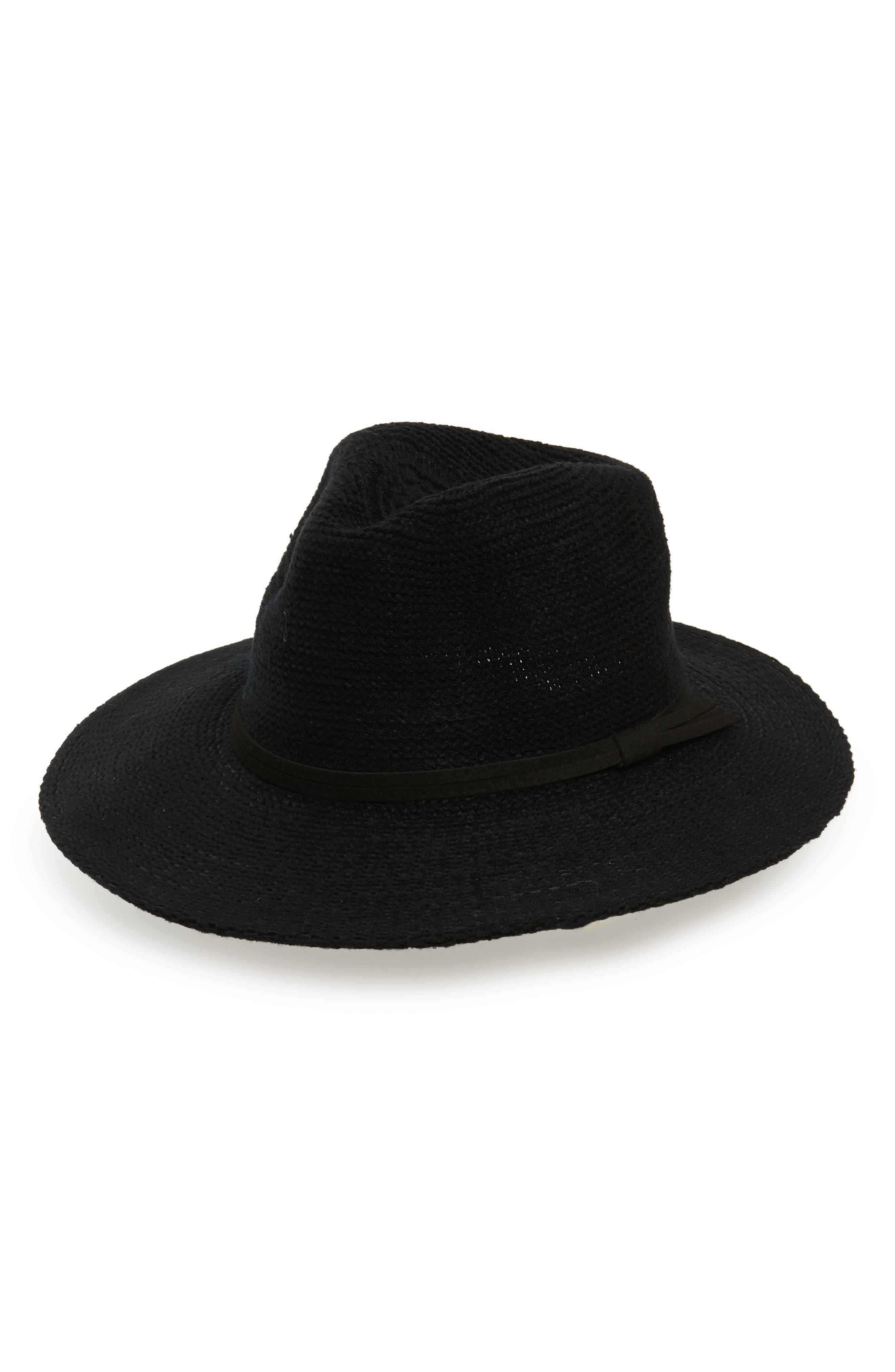 Packable Knit Panama Hat,                             Main thumbnail 1, color,                             BLACK