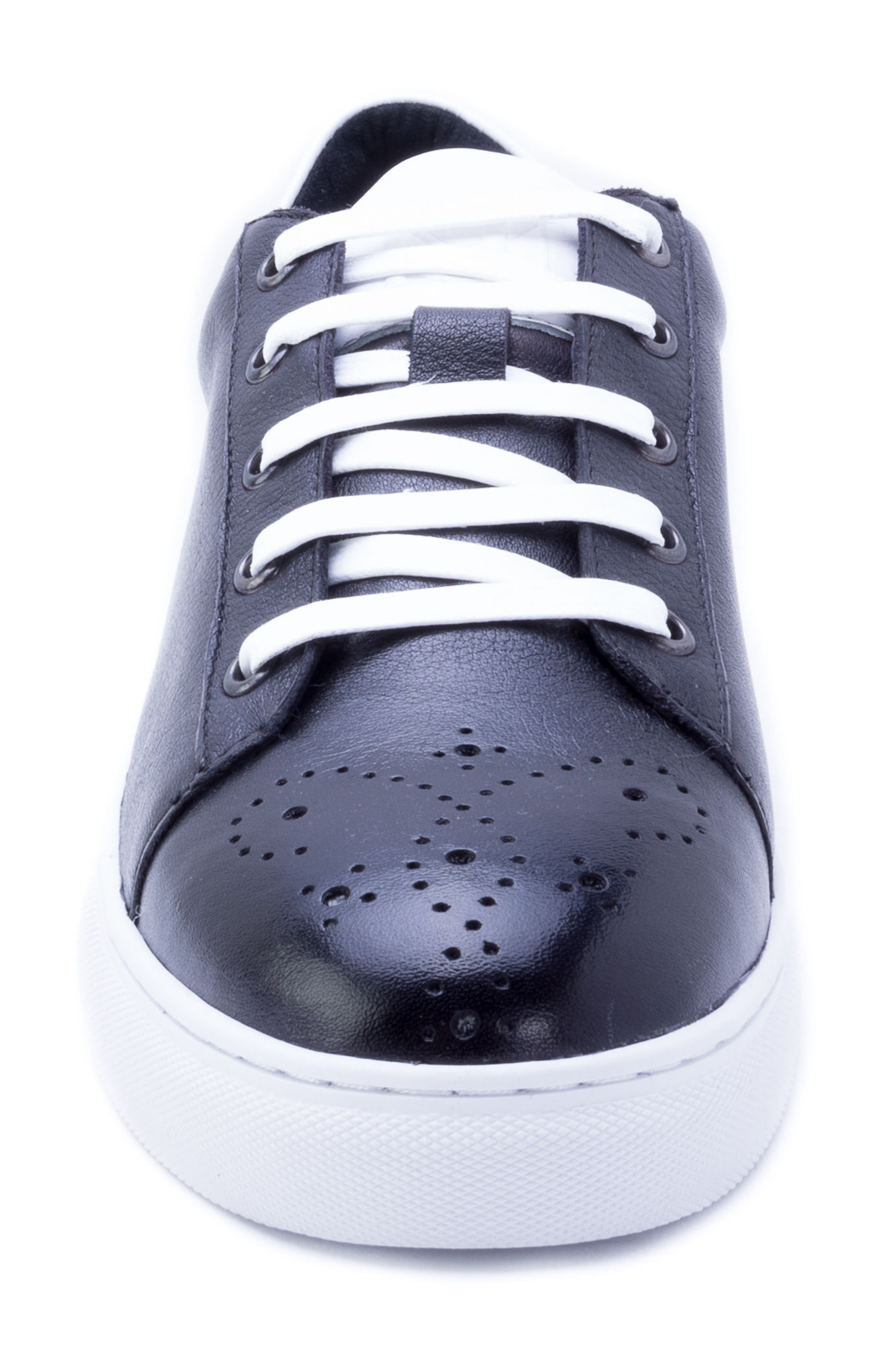 Sinatra Sneaker,                             Alternate thumbnail 4, color,                             BLACK LEATHER