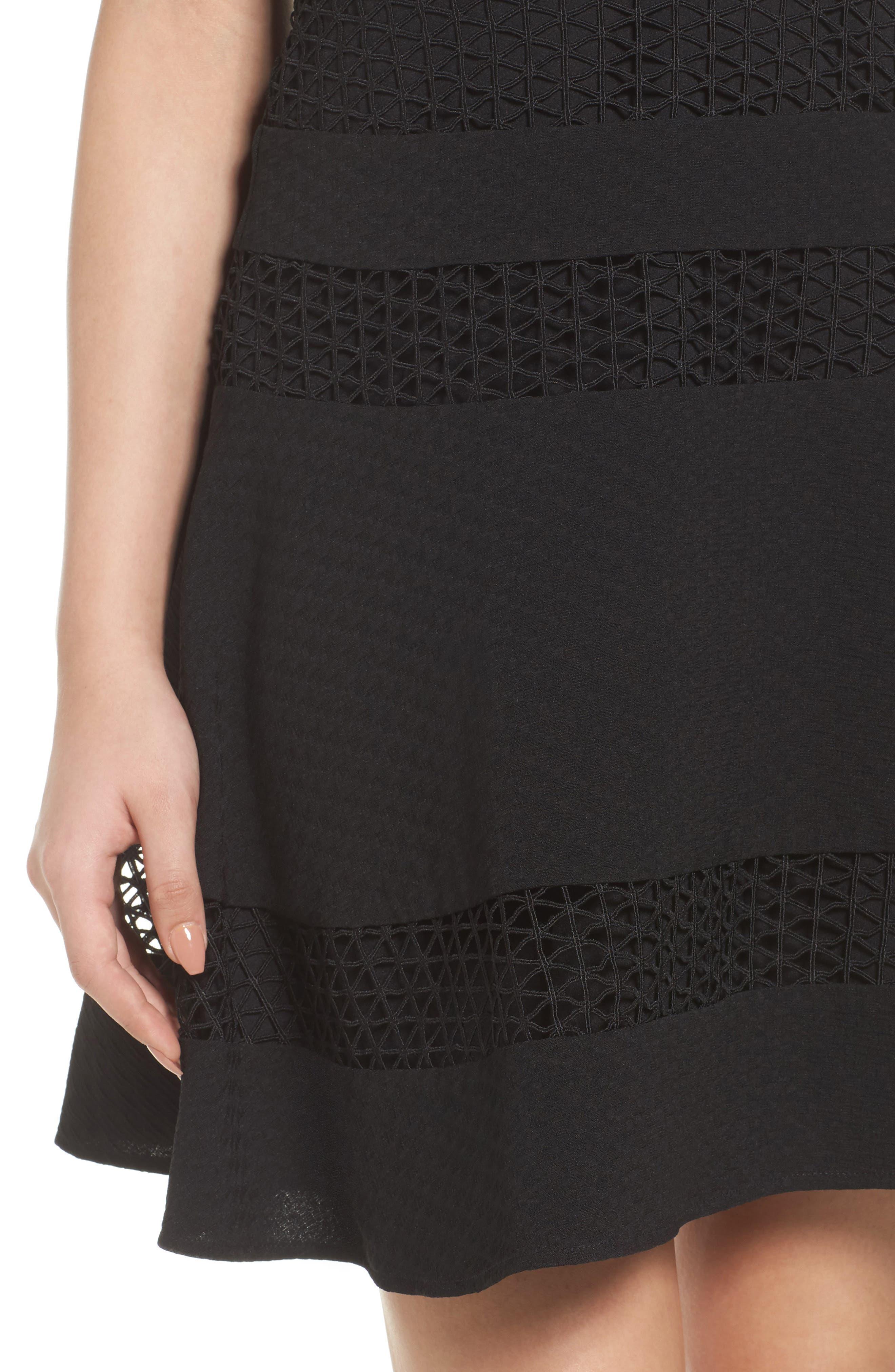 Mixed Media Fit & Flare Dress,                             Alternate thumbnail 4, color,                             BLACK