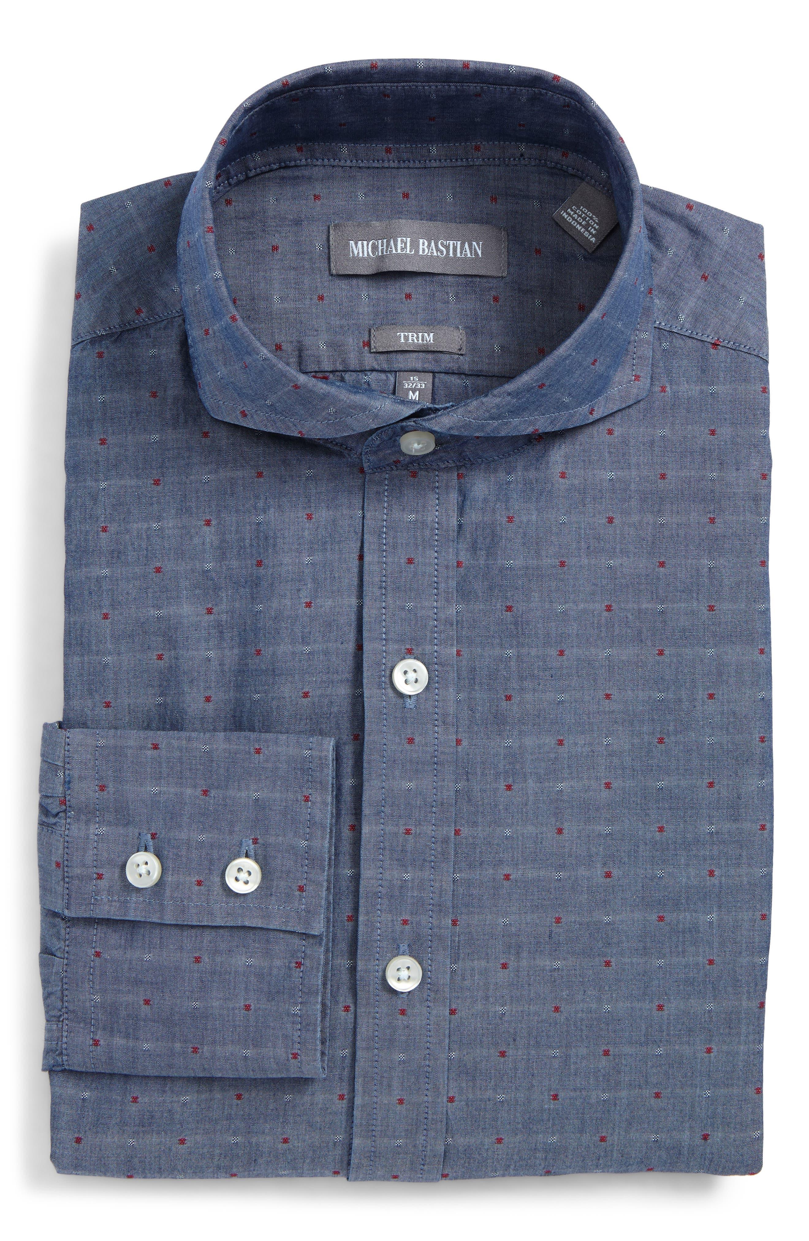 Trim Fit Dot Dress Shirt,                             Main thumbnail 1, color,                             529