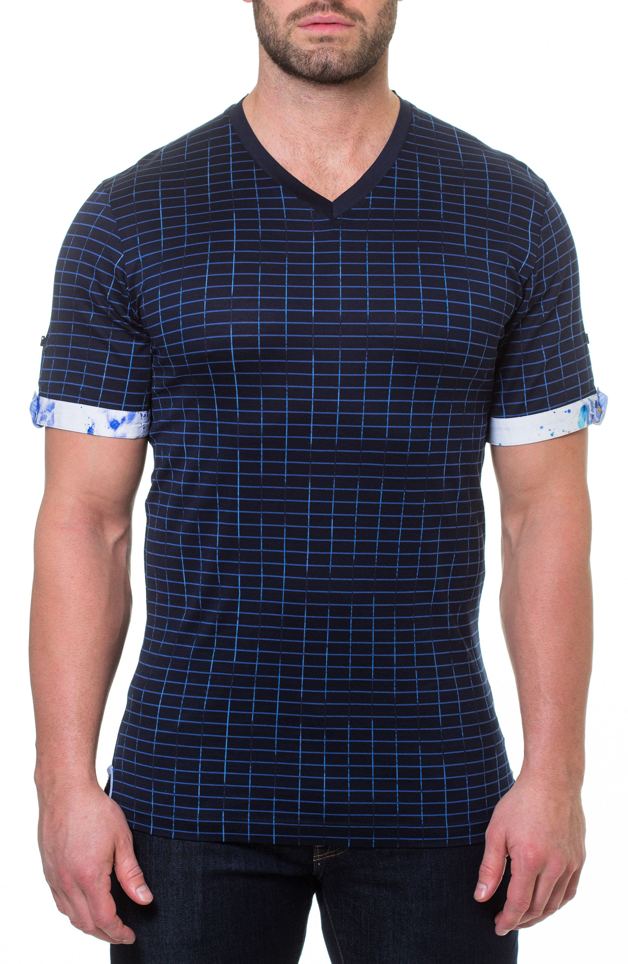 Maceoo Short Sleeve V-Neck Framework T-Shirt, Blue