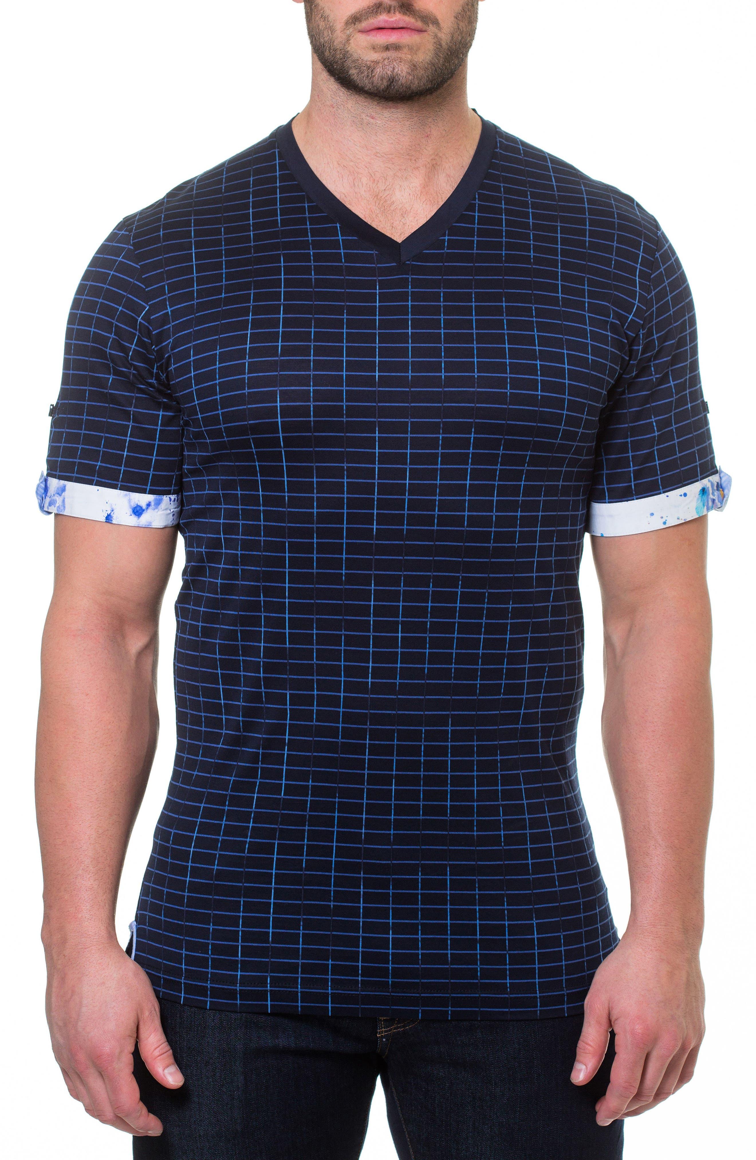 Short Sleeve V-Neck Framework T-Shirt,                         Main,                         color, BLUE