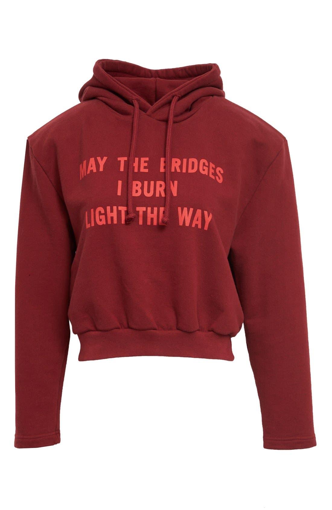 VETEMENTS,                             May the Bridges I Burn Light the Way Football Shoulder Hoodie,                             Alternate thumbnail 7, color,                             930