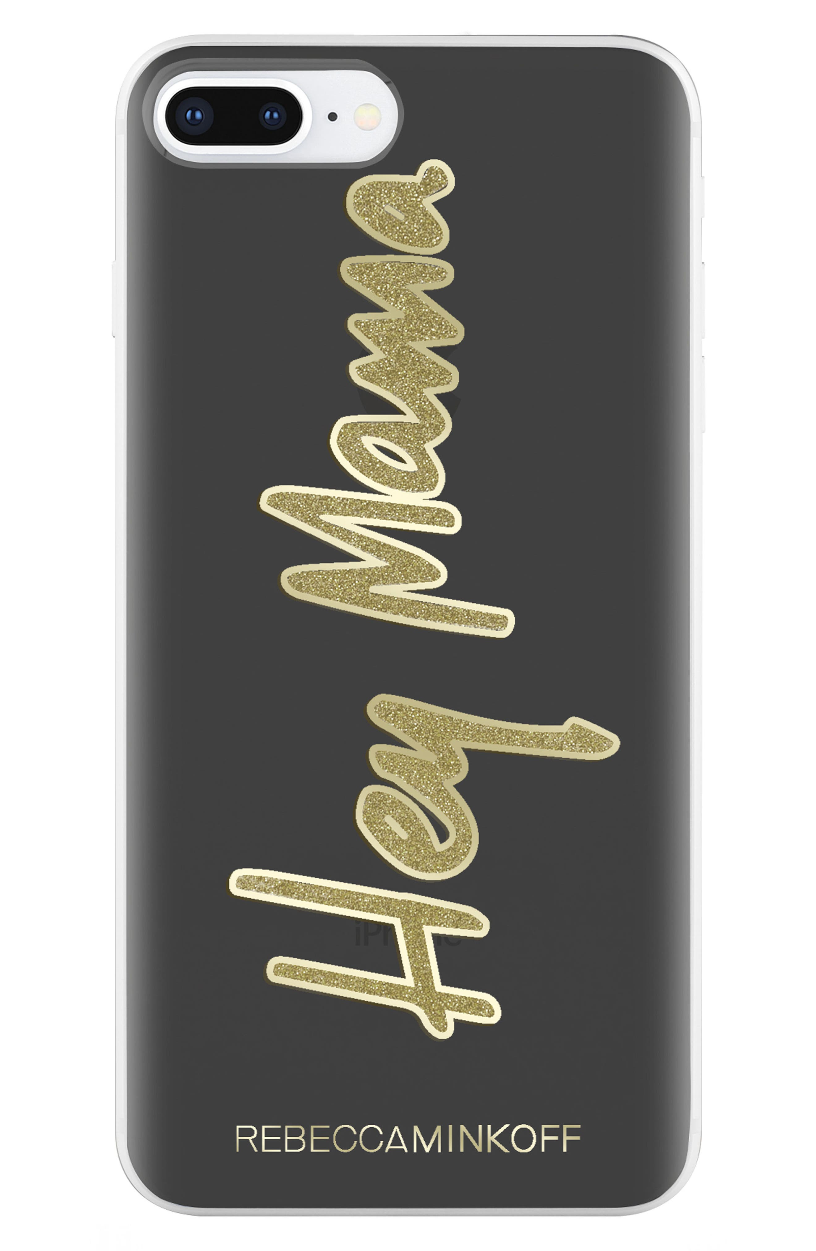 Hey Mama iPhone 7/8 & 7/8 Plus Case,                             Alternate thumbnail 6, color,                             BLACK/ GOLD GLITTER