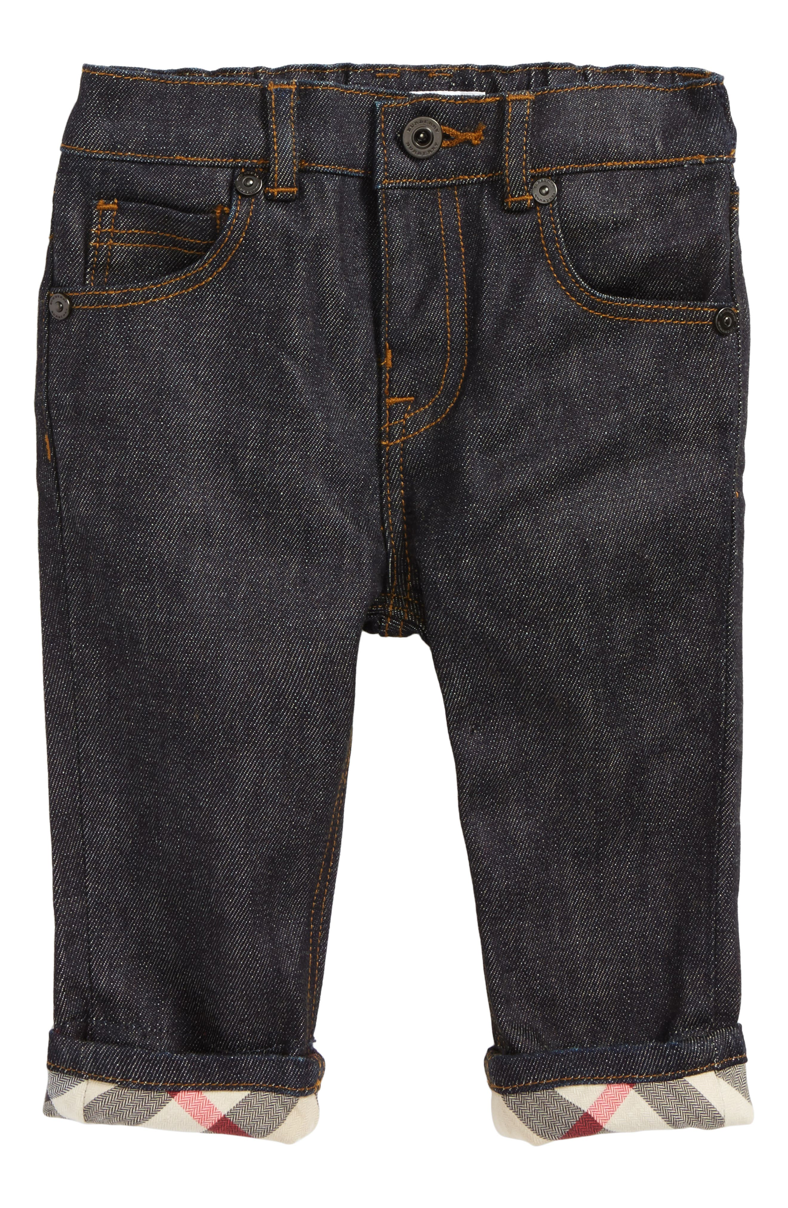 Check Cuff Relaxed Jeans,                             Main thumbnail 1, color,                             404