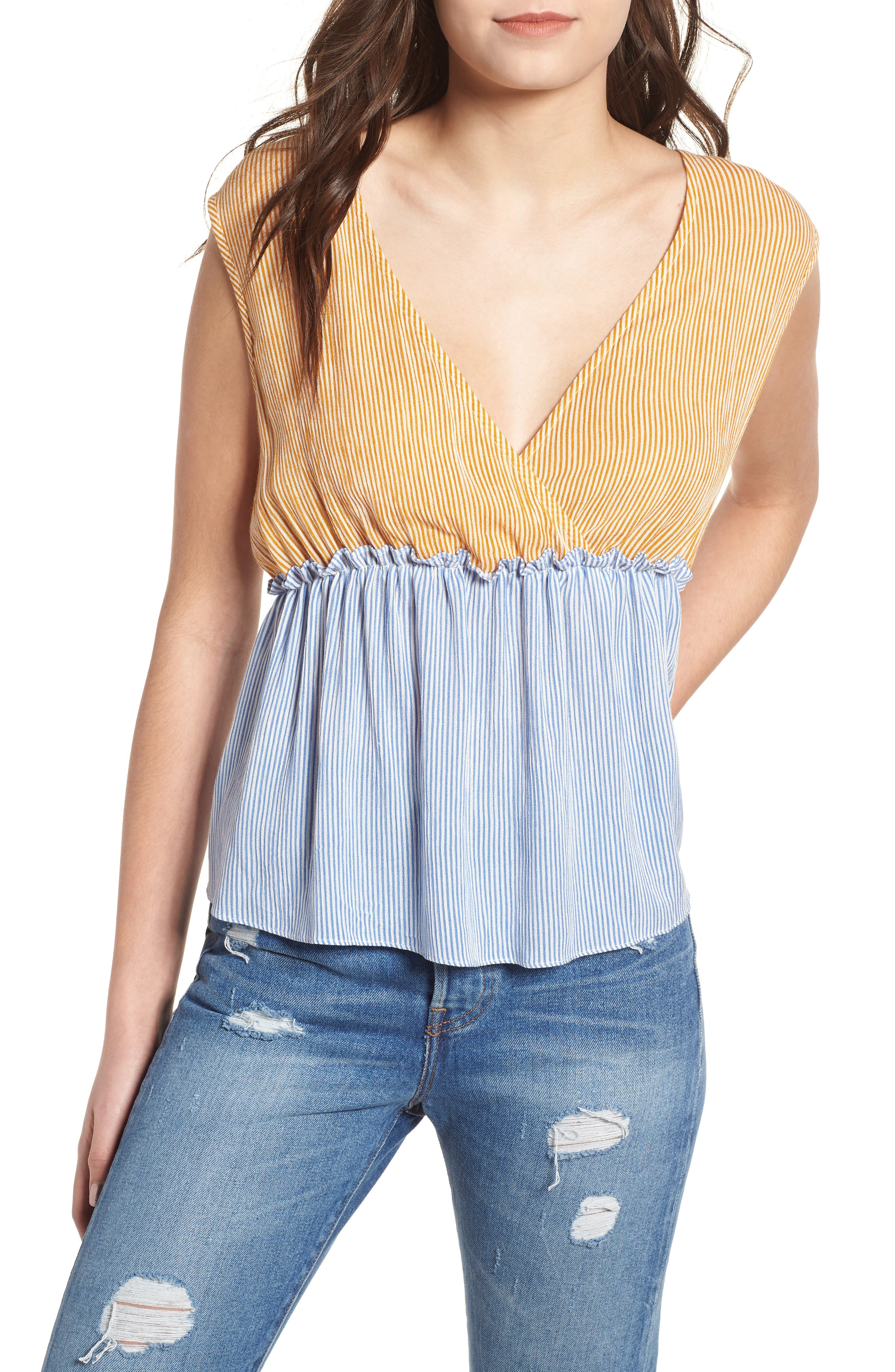 Mixed Stripe Tie Back Top,                             Main thumbnail 1, color,                             420