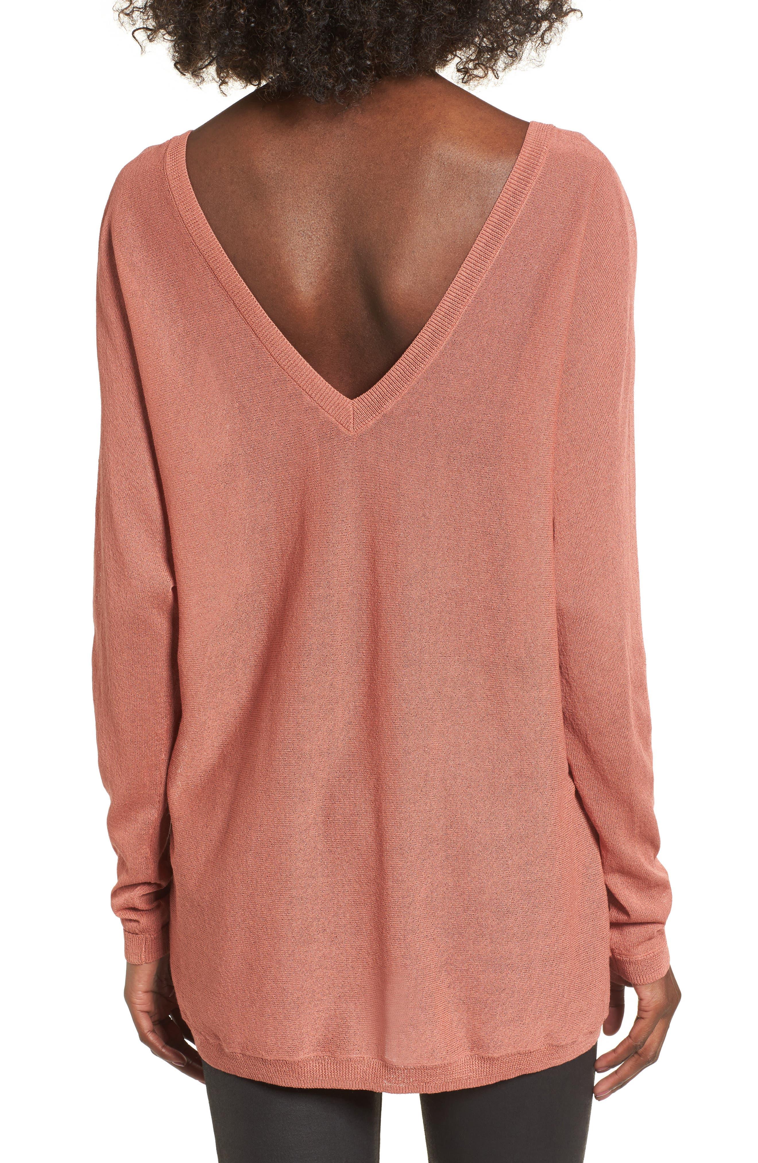 Double V-Neck Sweater,                             Alternate thumbnail 6, color,