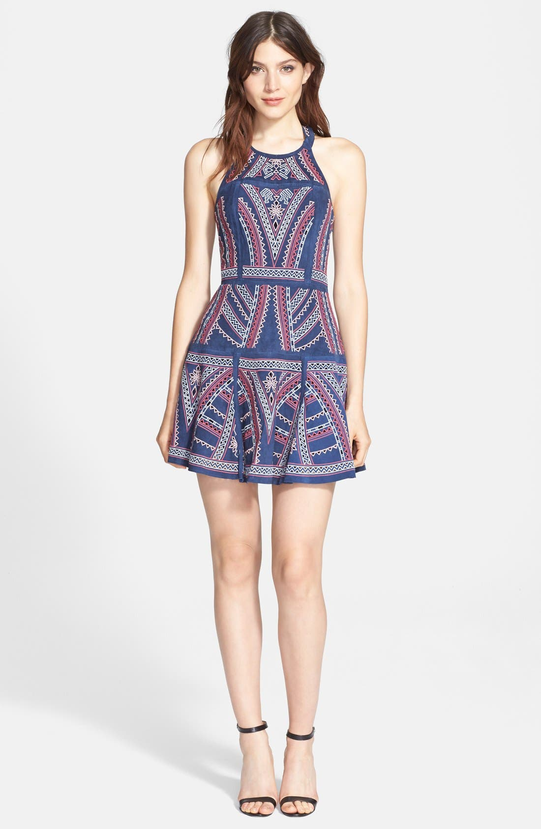 'Leona' Embroidered Sleeveless Fit & Flare Dress,                             Main thumbnail 1, color,                             411