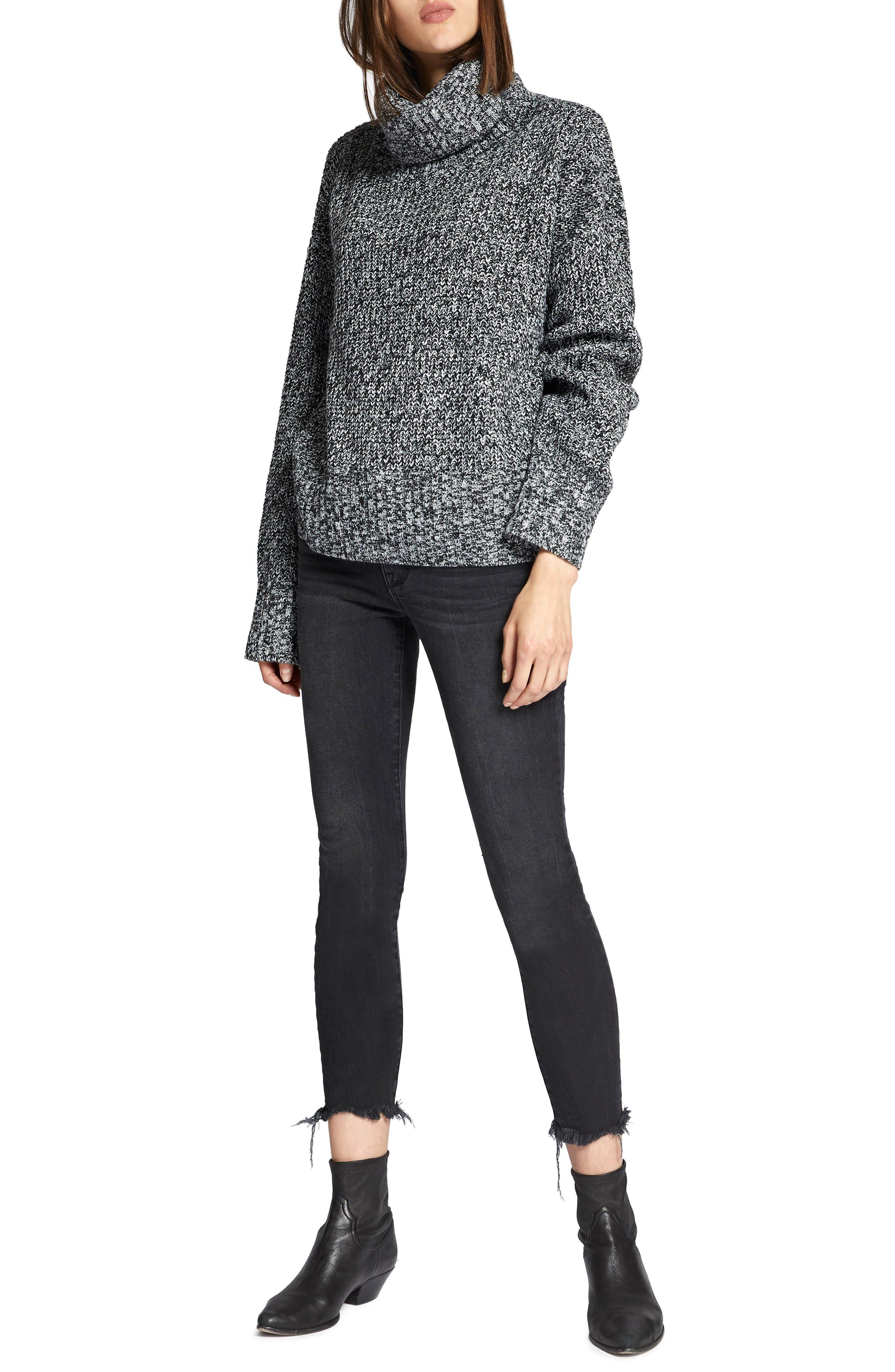 Cowl Neck Shaker Sweater,                             Alternate thumbnail 4, color,                             BLACK/ WINTER