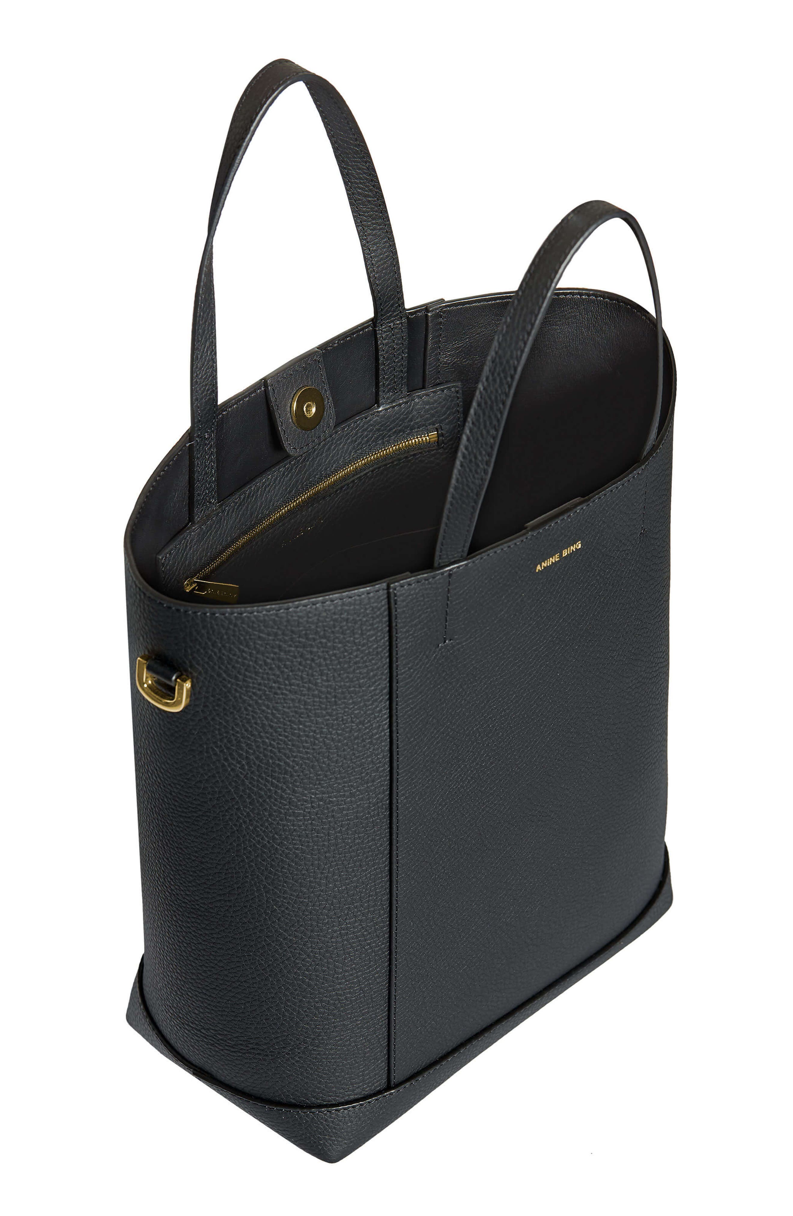 Lyon Water Repellent Leather Tote,                             Alternate thumbnail 4, color,                             BLACK