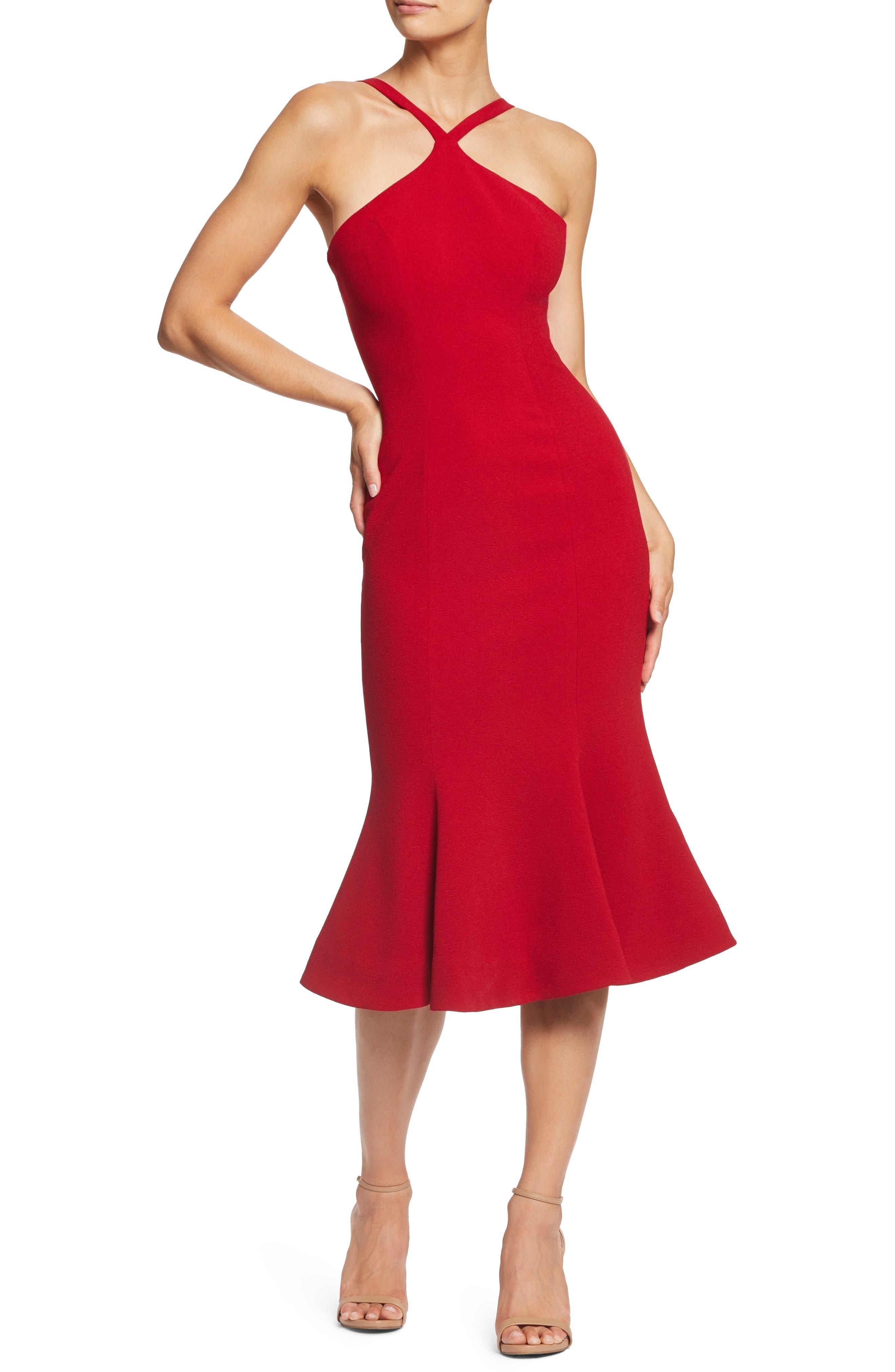 Dress The Population Tessa Crepe Mermaid Dress, Red