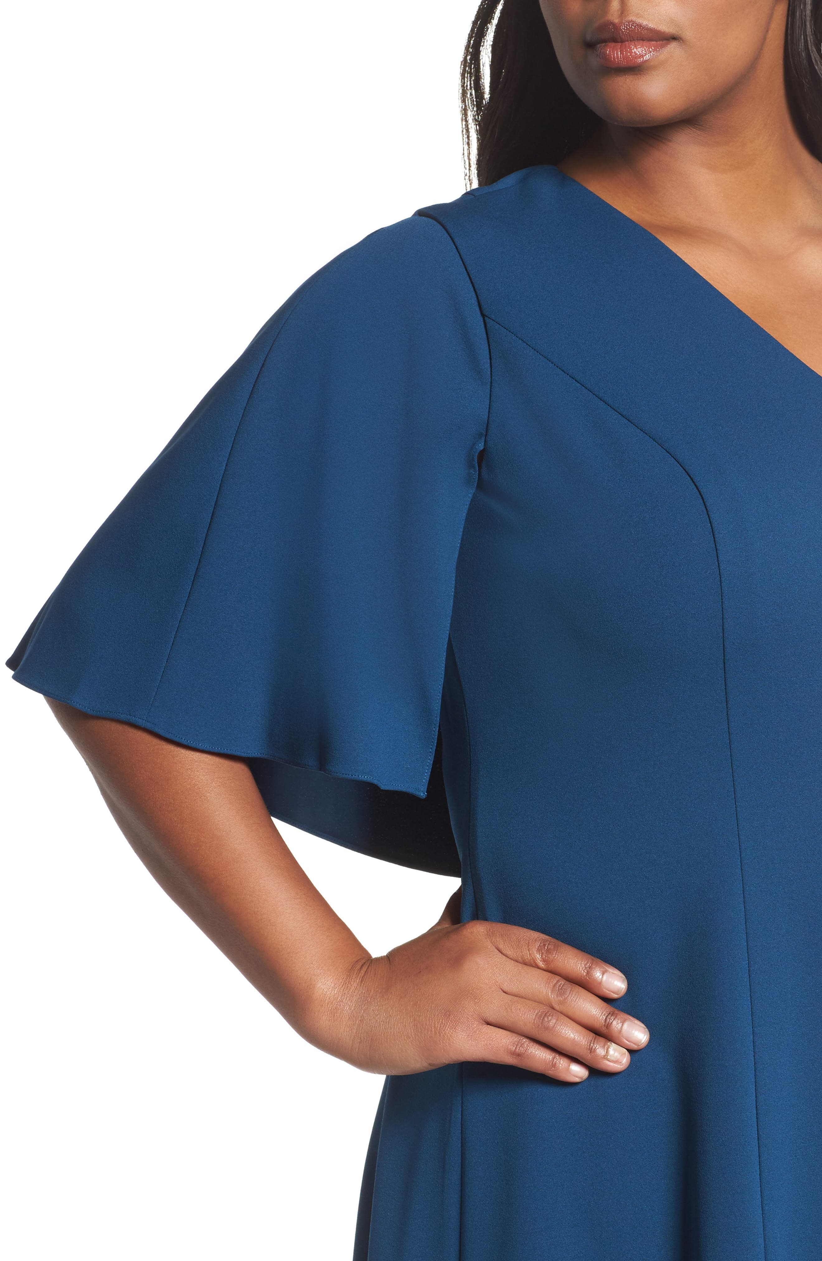 Capelet A-Line Dress,                             Alternate thumbnail 4, color,                             471