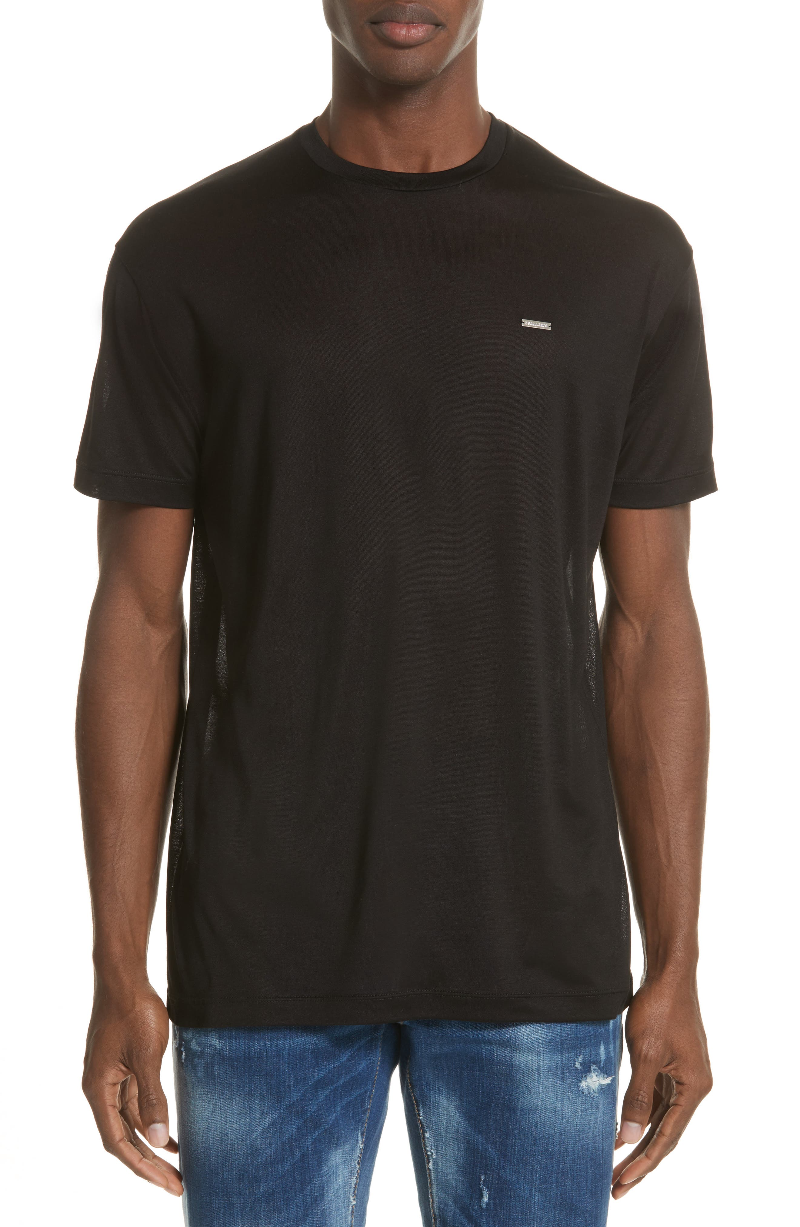 Silk Jersey T-Shirt,                             Main thumbnail 1, color,                             001