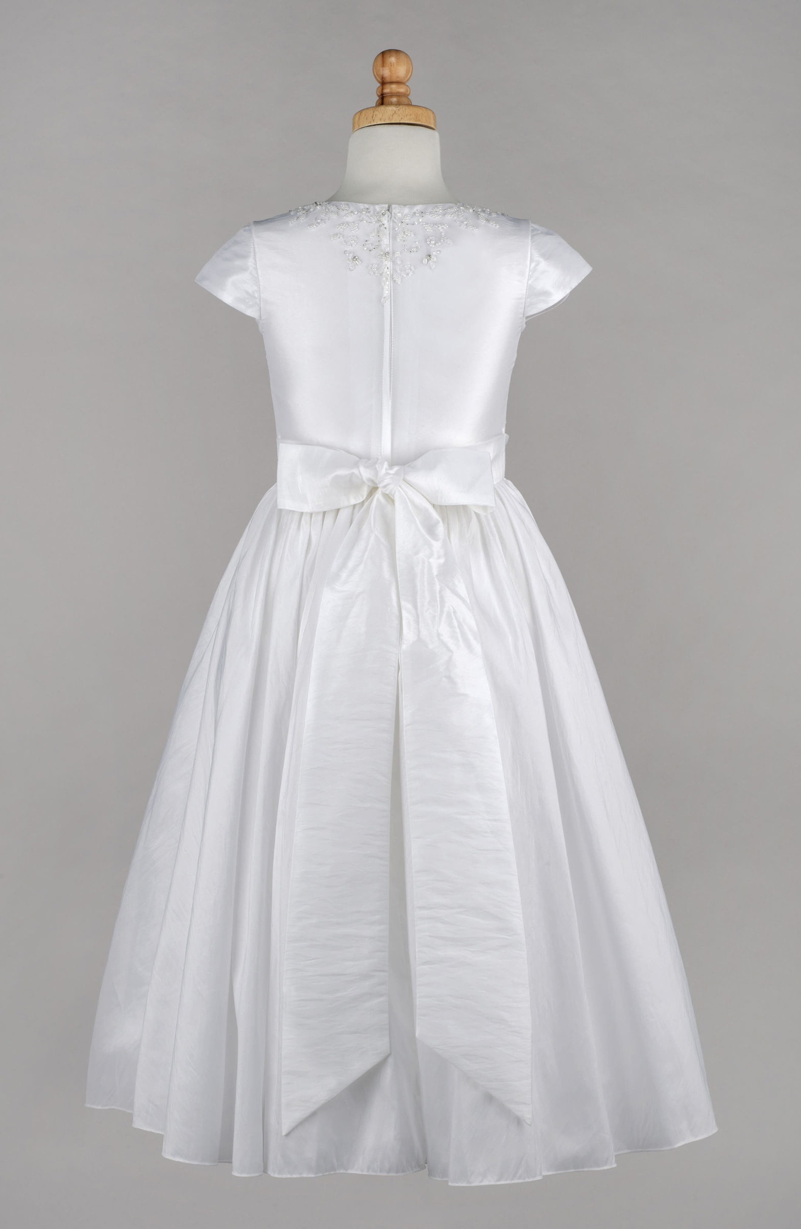 Beaded Taffeta First Communion Dress,                             Alternate thumbnail 2, color,                             100