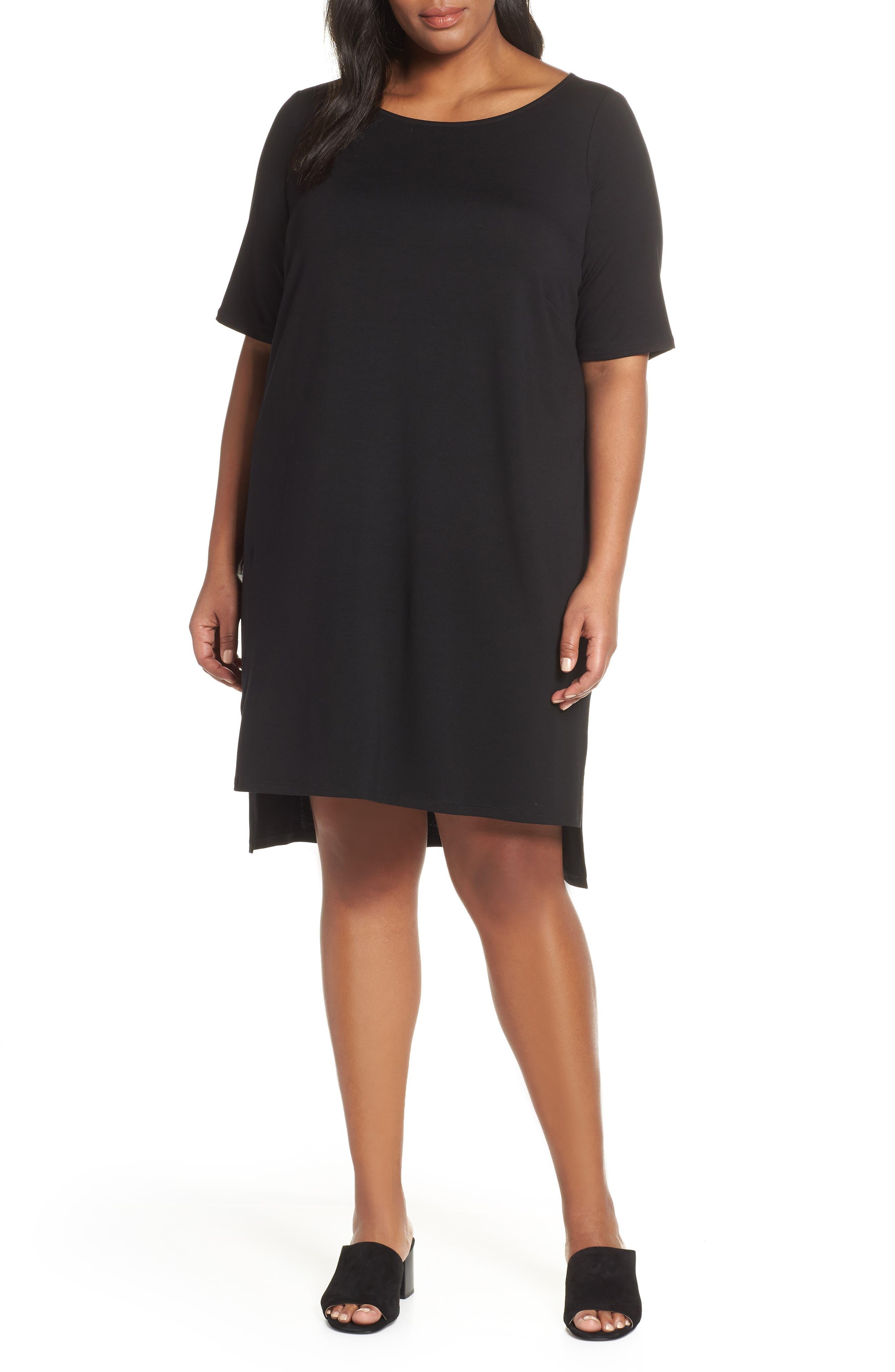 Plus Size Eileen Fisher Organic Cotton Shift Dress, Black