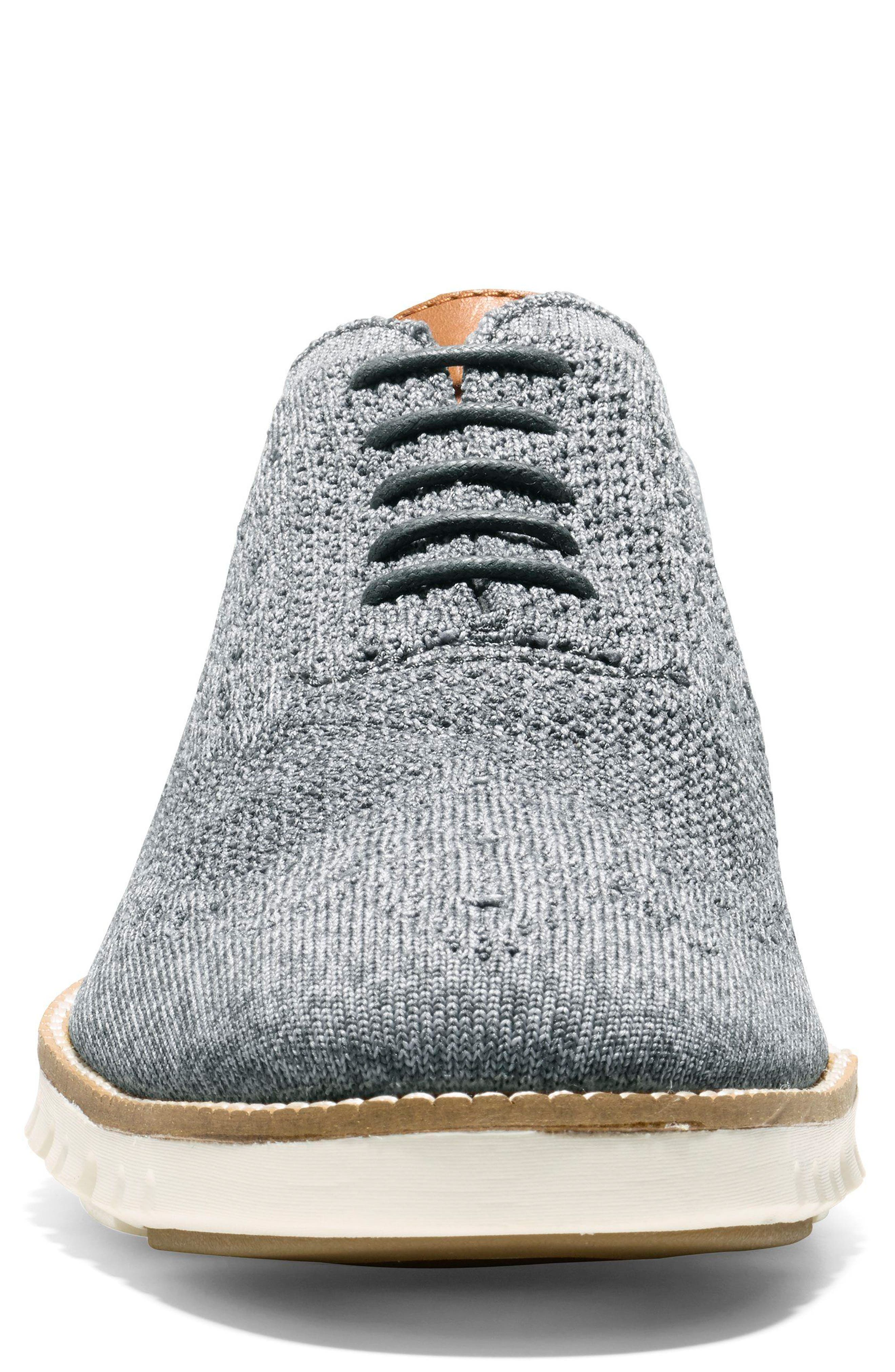 ZeroGrand Stitchlite Woven Wool Wingtip,                             Alternate thumbnail 4, color,                             IRONSTONE/ MAGNET/ IVORY
