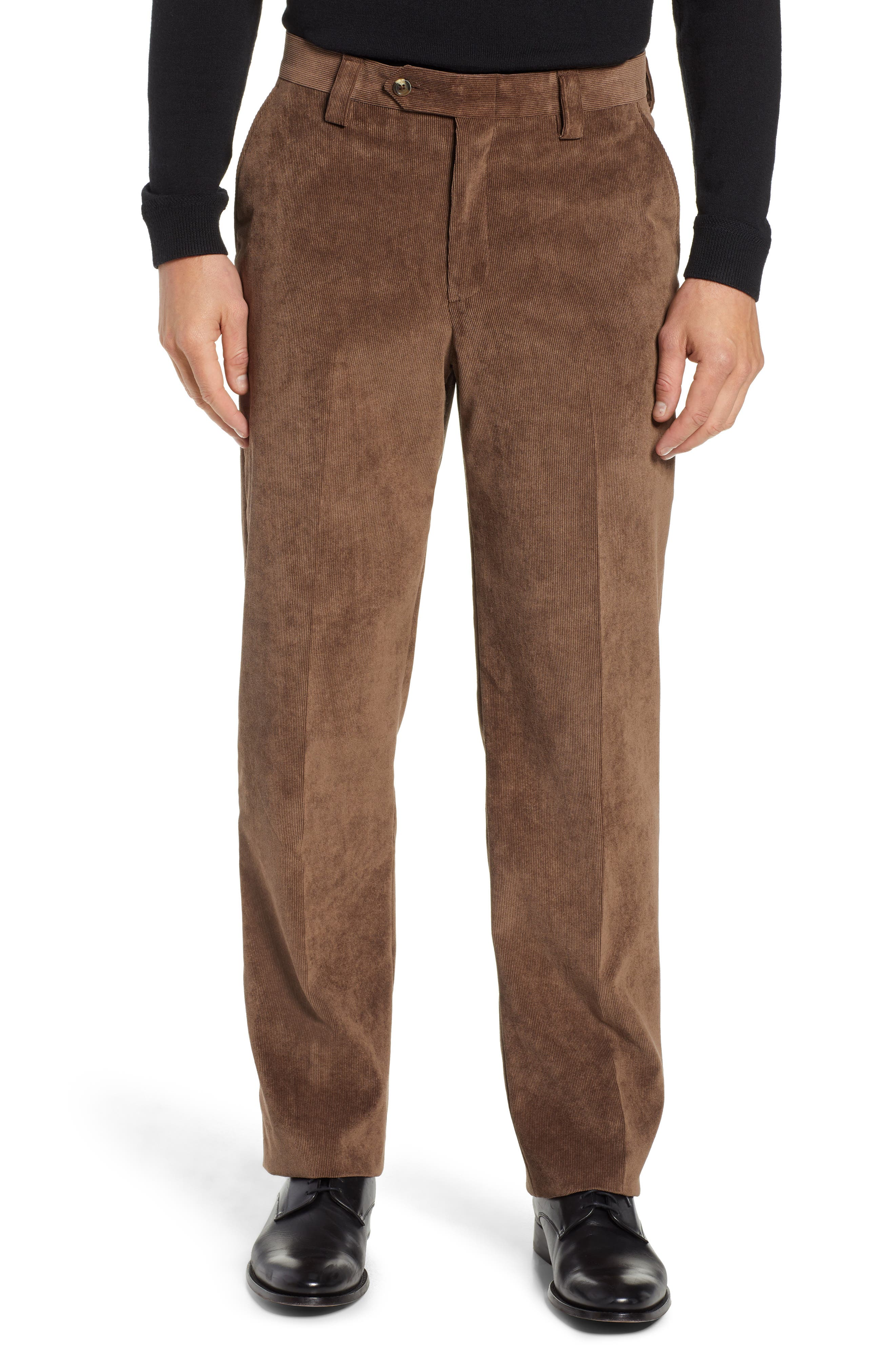 BERLE Classic Fit Flat Front Corduroy Trousers, Main, color, 200