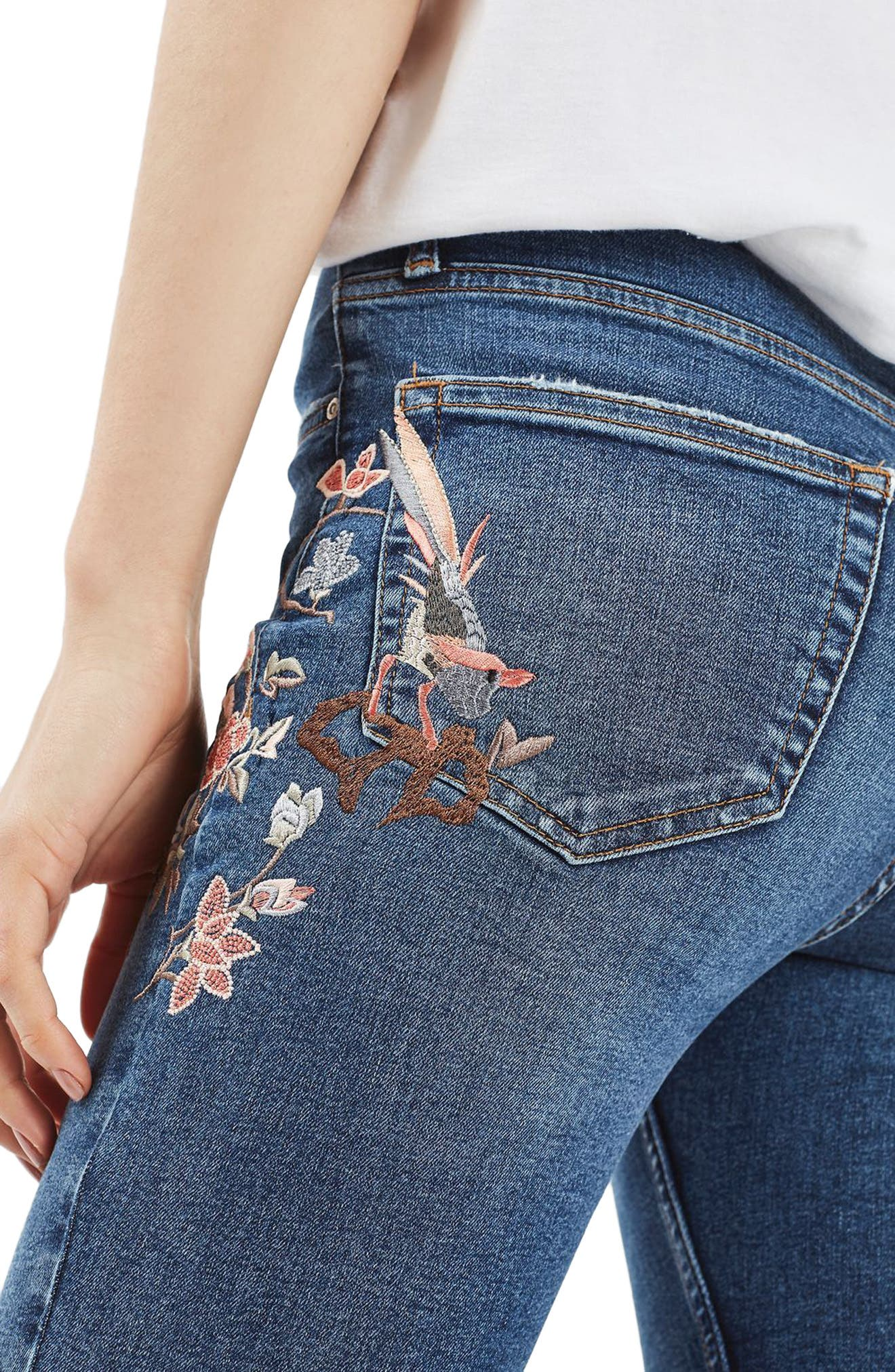 Moto Jamie Embroidered Skinny Jeans,                             Alternate thumbnail 3, color,                             400