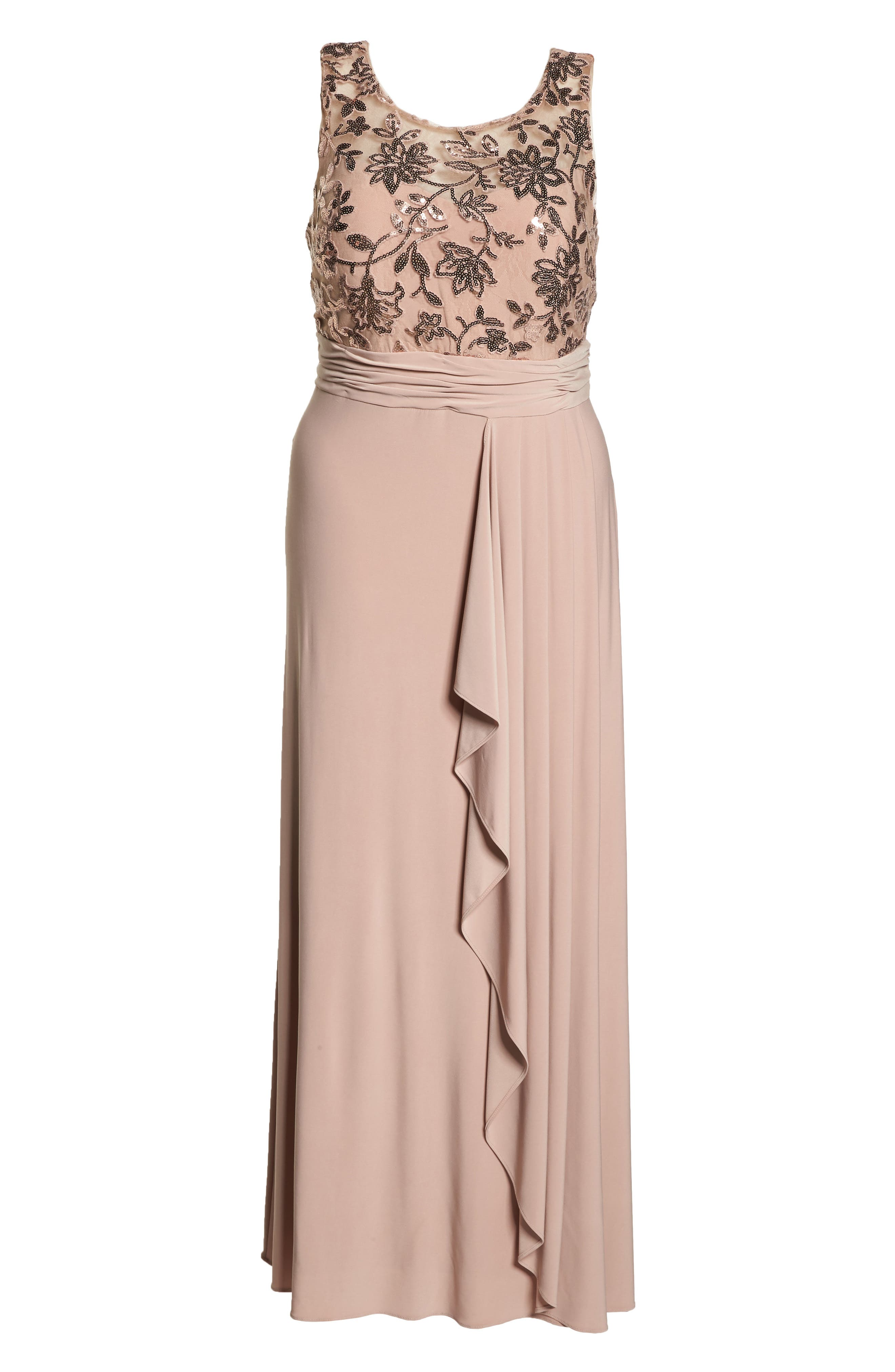 Sequin Lace Bodice Ruffle Skirt Knit Gown,                             Alternate thumbnail 7, color,                             ROSE GOLD
