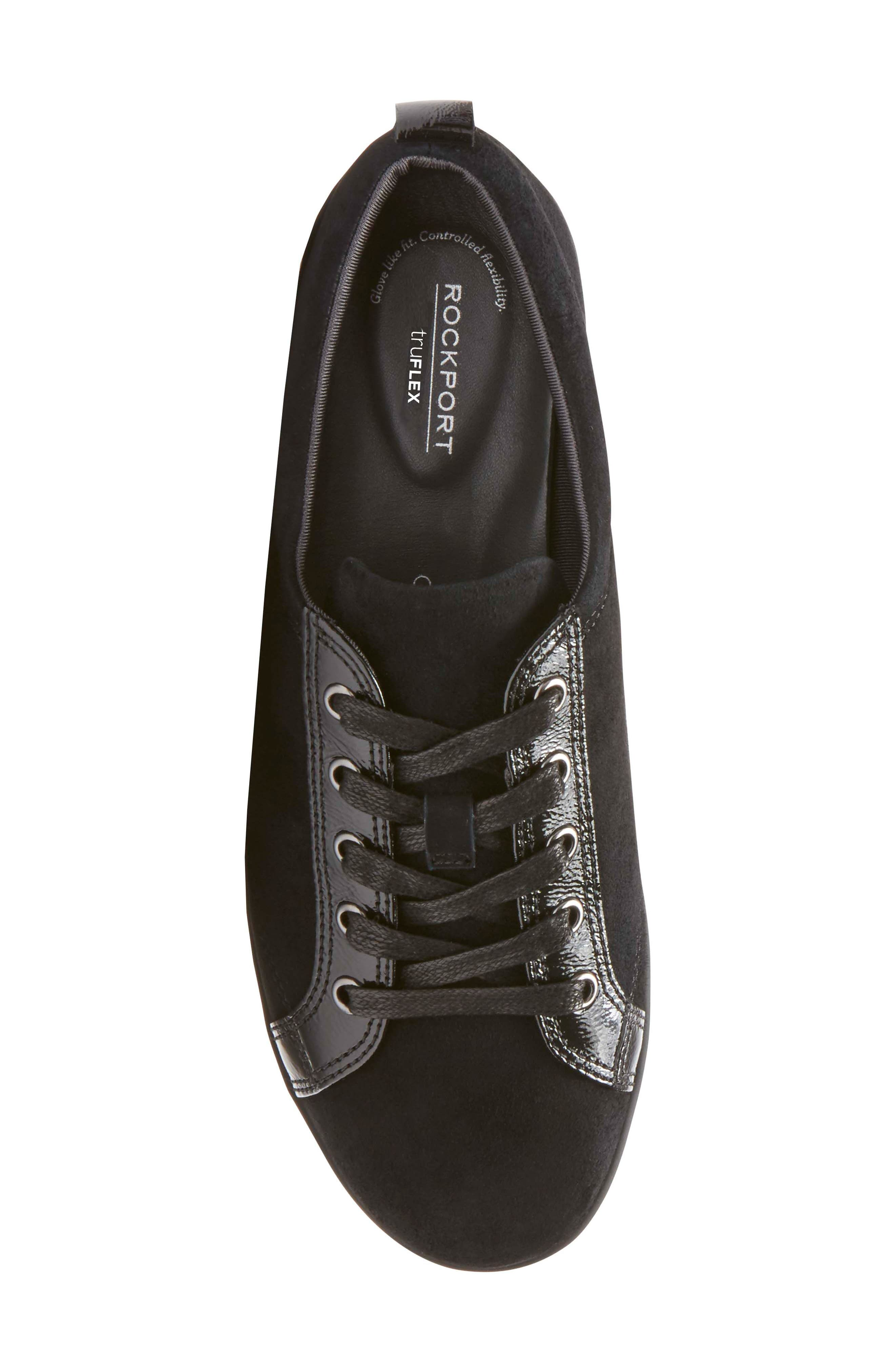Chenole Wedge Sneaker,                             Alternate thumbnail 5, color,                             BLACK SUEDE