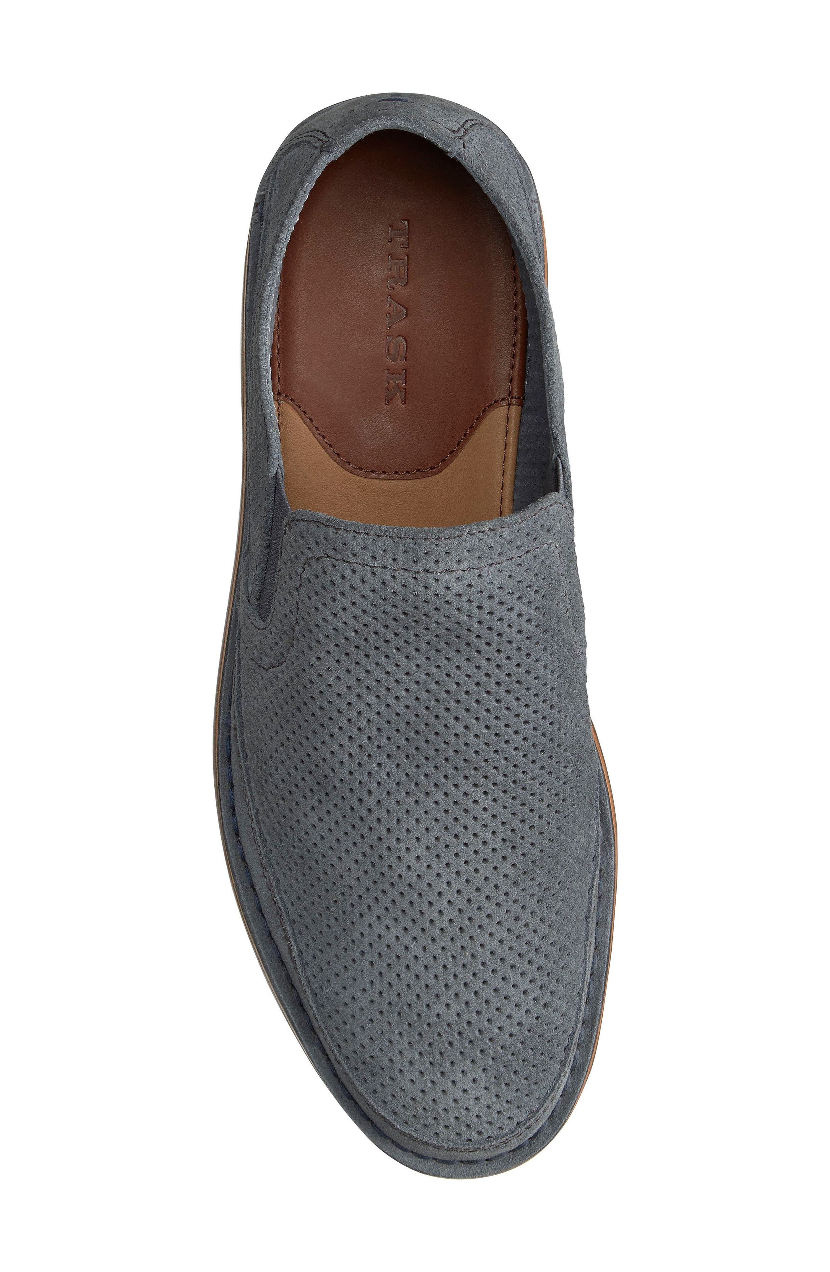 TRASK,                             Bradley Perforated Slip-On,                             Alternate thumbnail 4, color,                             SLATE GREY SUEDE