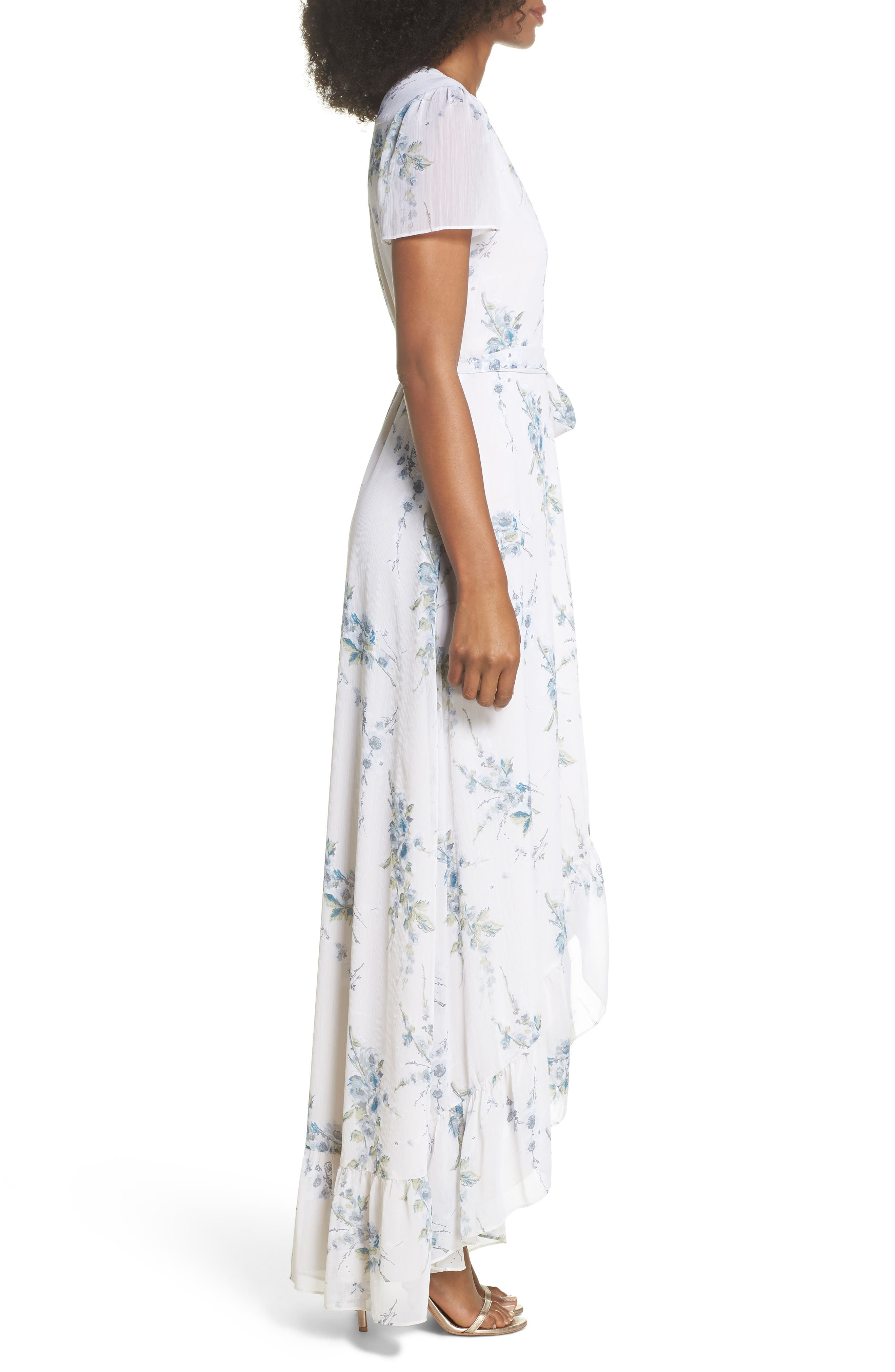 The Natasha Floral Wrap Maxi Dress,                             Alternate thumbnail 3, color,                             BLUE GARDEN FLORAL