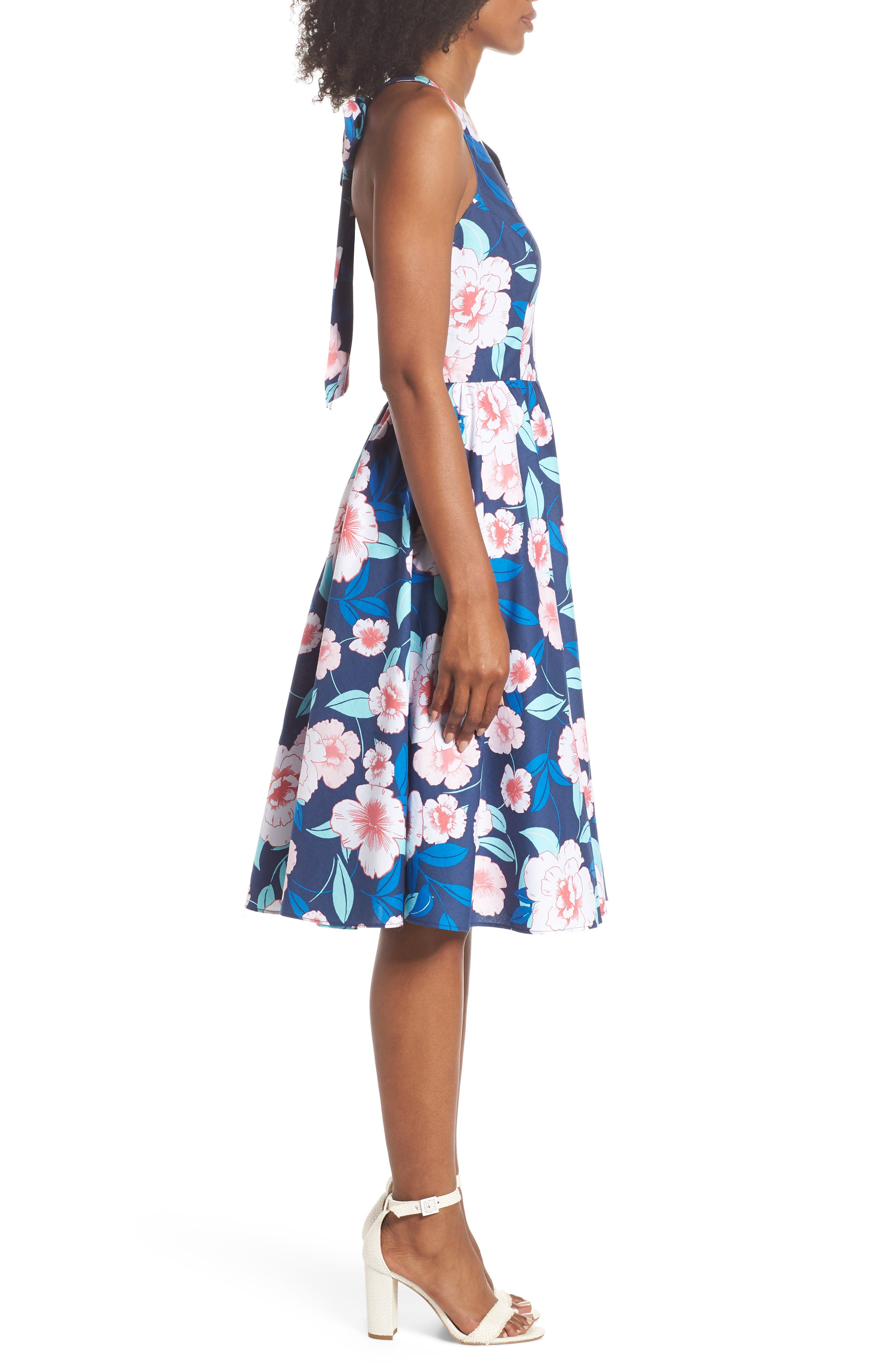 Floral Fit & Flare Halter Dress,                             Alternate thumbnail 3, color,                             410