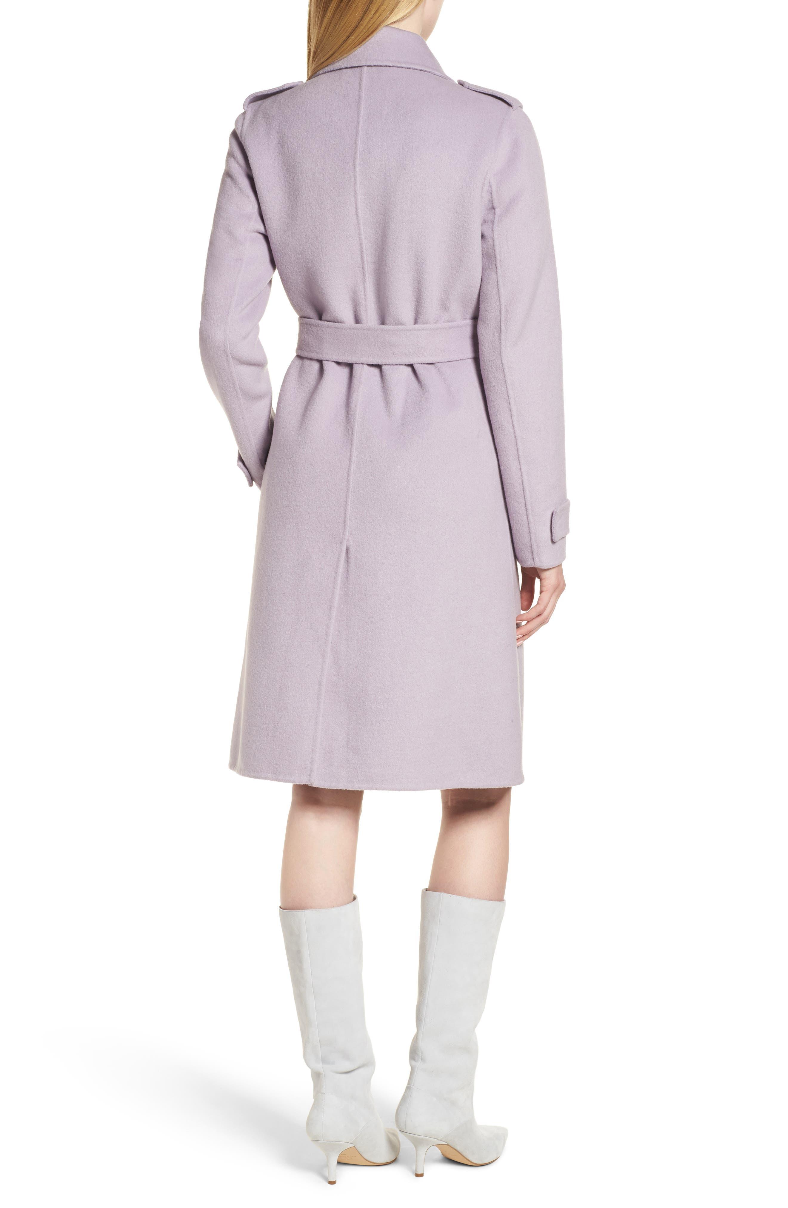 Double Face Wool Blend Wrap Front Coat,                             Alternate thumbnail 2, color,                             LAVENDER