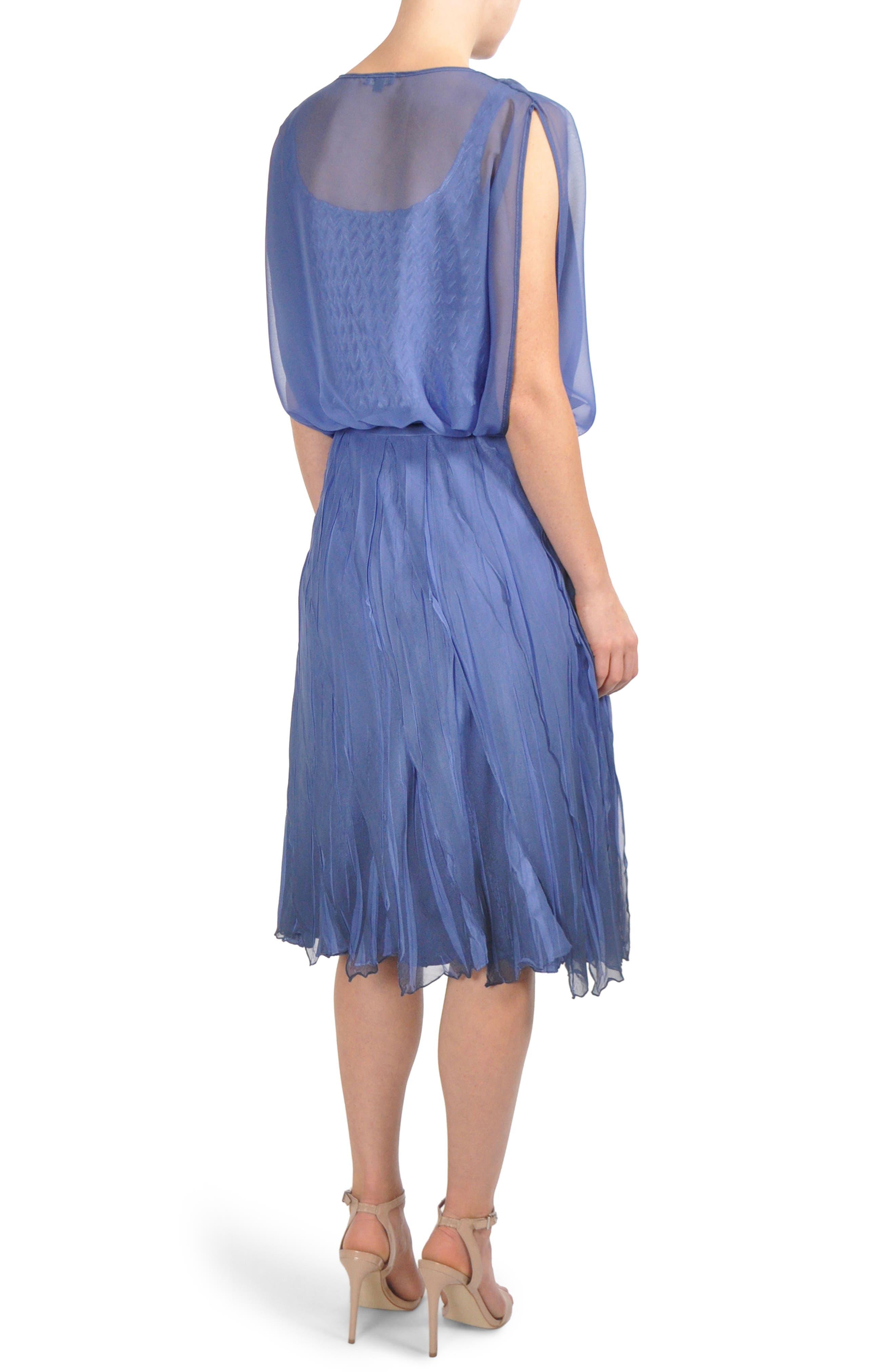 Charmeuse & Chiffon Blouson Dress,                             Alternate thumbnail 2, color,                             420