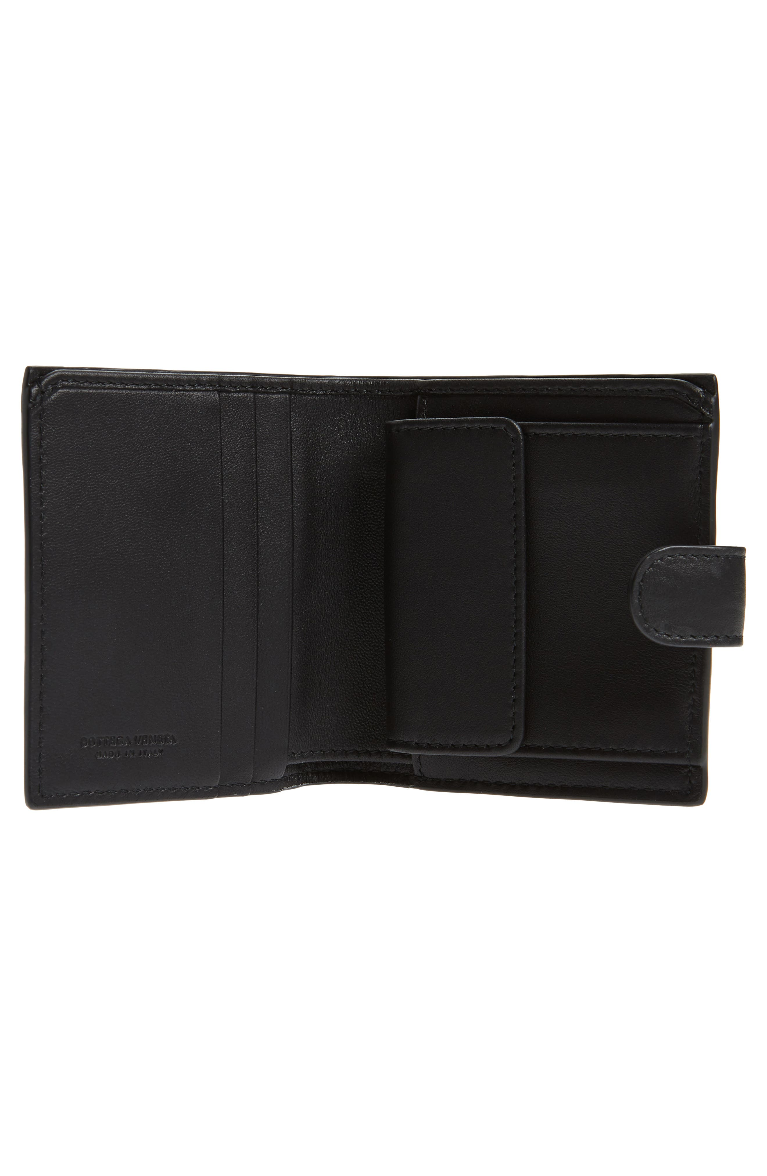 Intrecciato Leather French Wallet,                             Alternate thumbnail 2, color,                             BLACK
