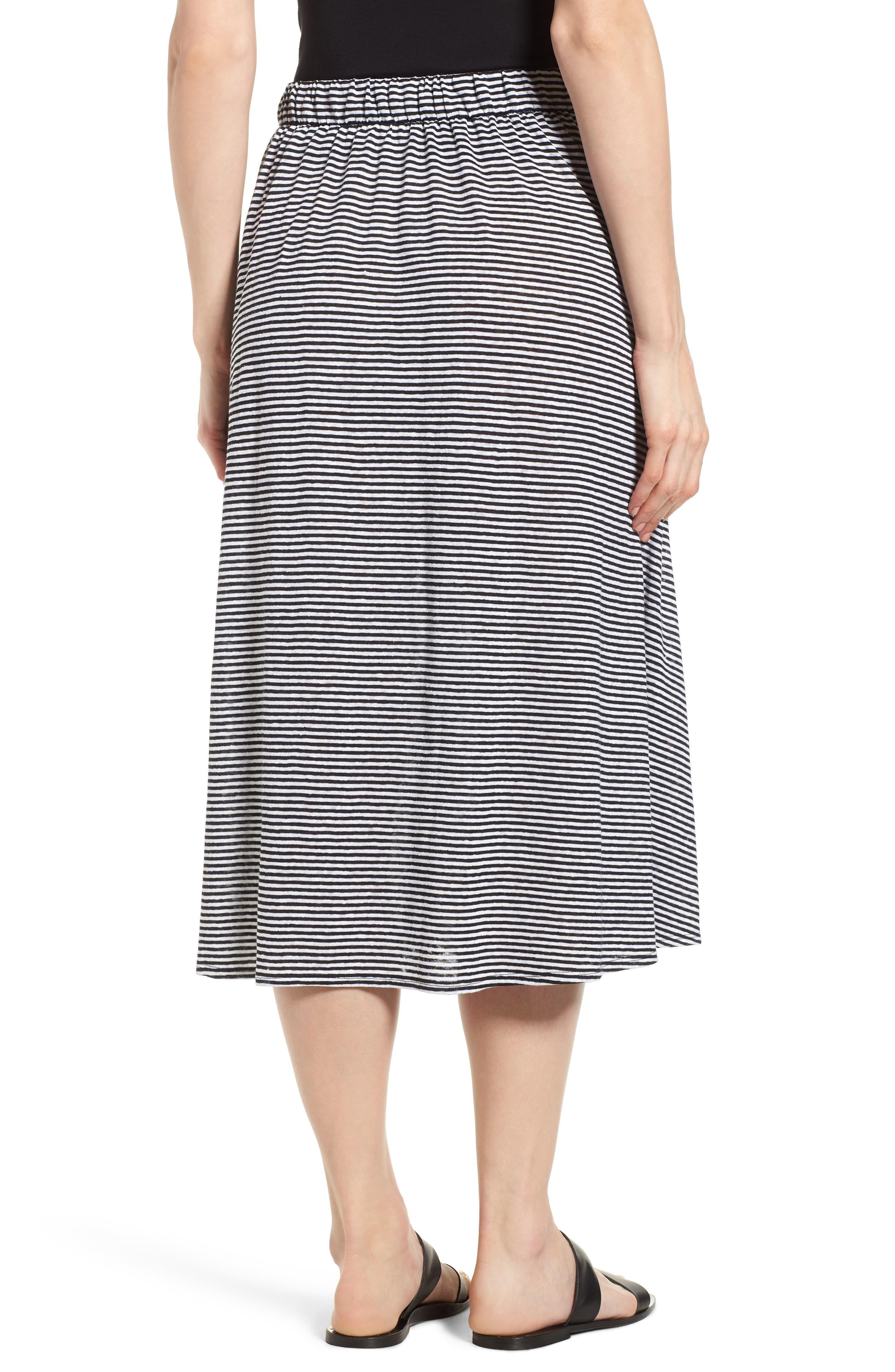 Flared Stripe Organic Linen Skirt,                             Alternate thumbnail 3, color,