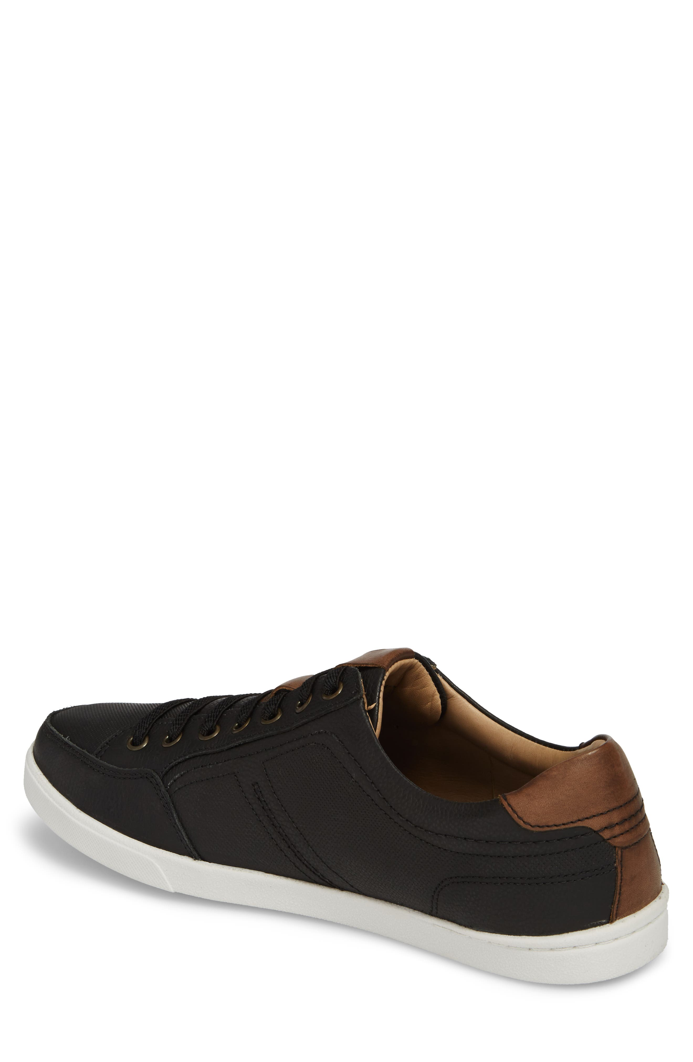 Quinton Textured Low Top Sneaker,                             Alternate thumbnail 2, color,                             BLACK LEATHER