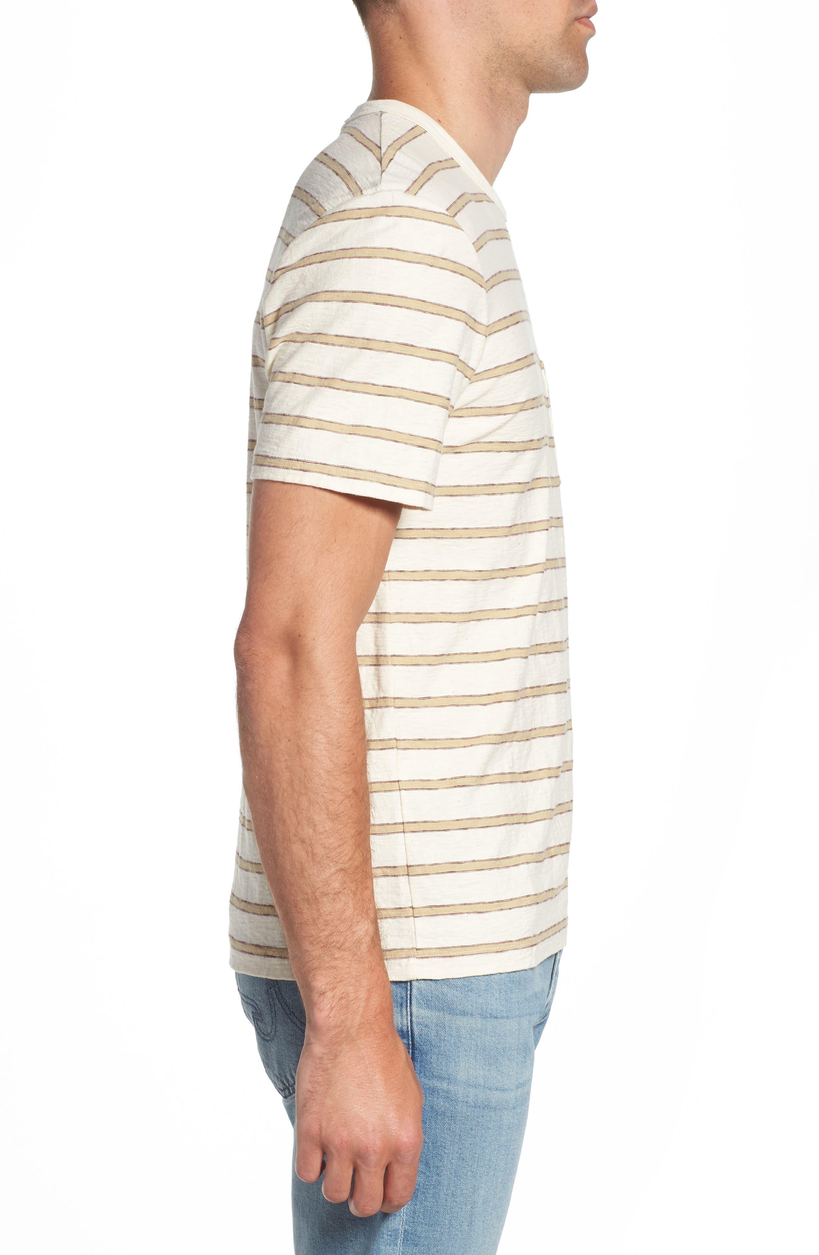 Vintage Stripe Pocket T-Shirt,                             Alternate thumbnail 3, color,                             COTTON STRIPE