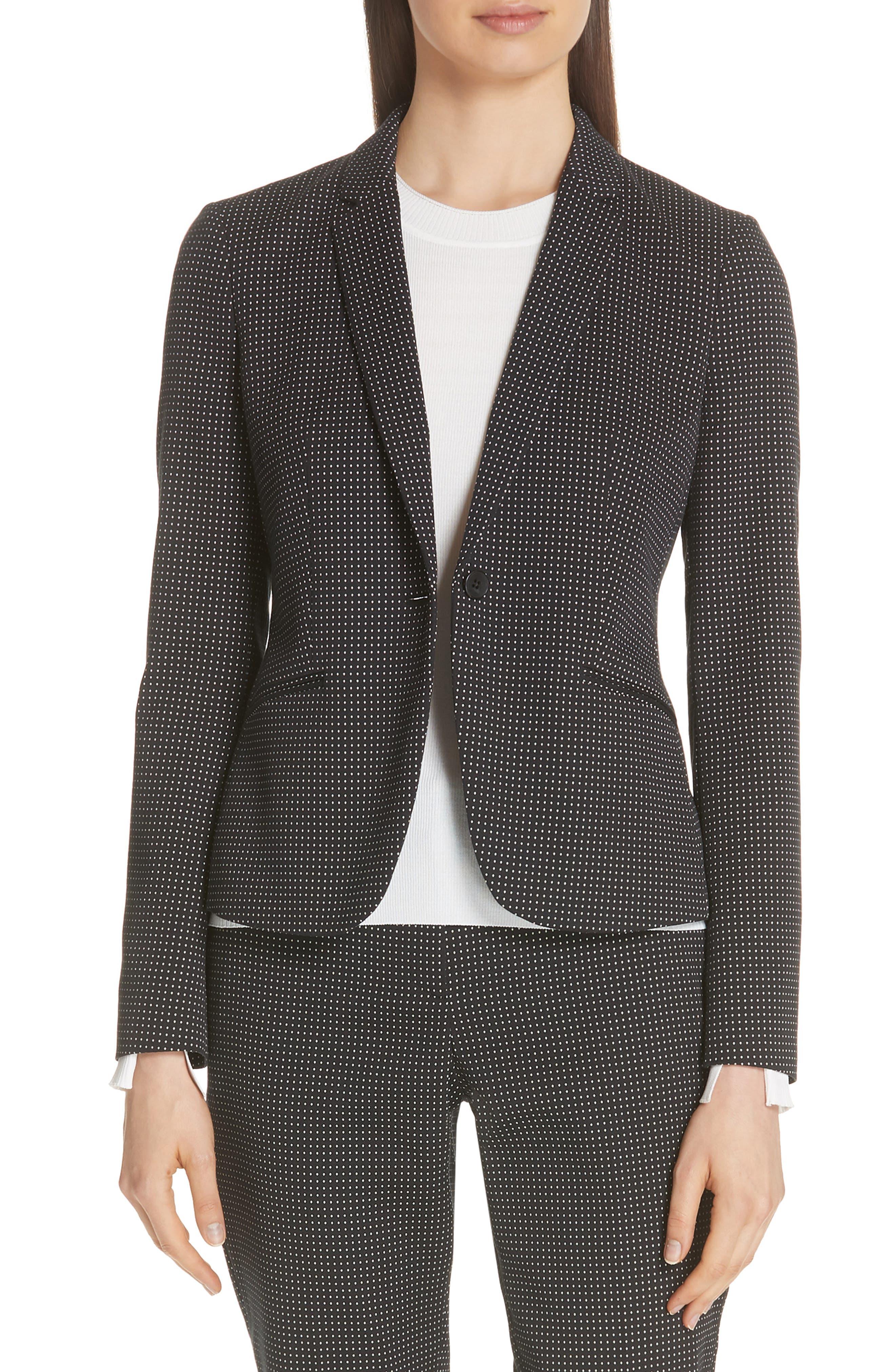 Jumano Dot Stretch Jacket,                         Main,                         color, BLACK FANTASY