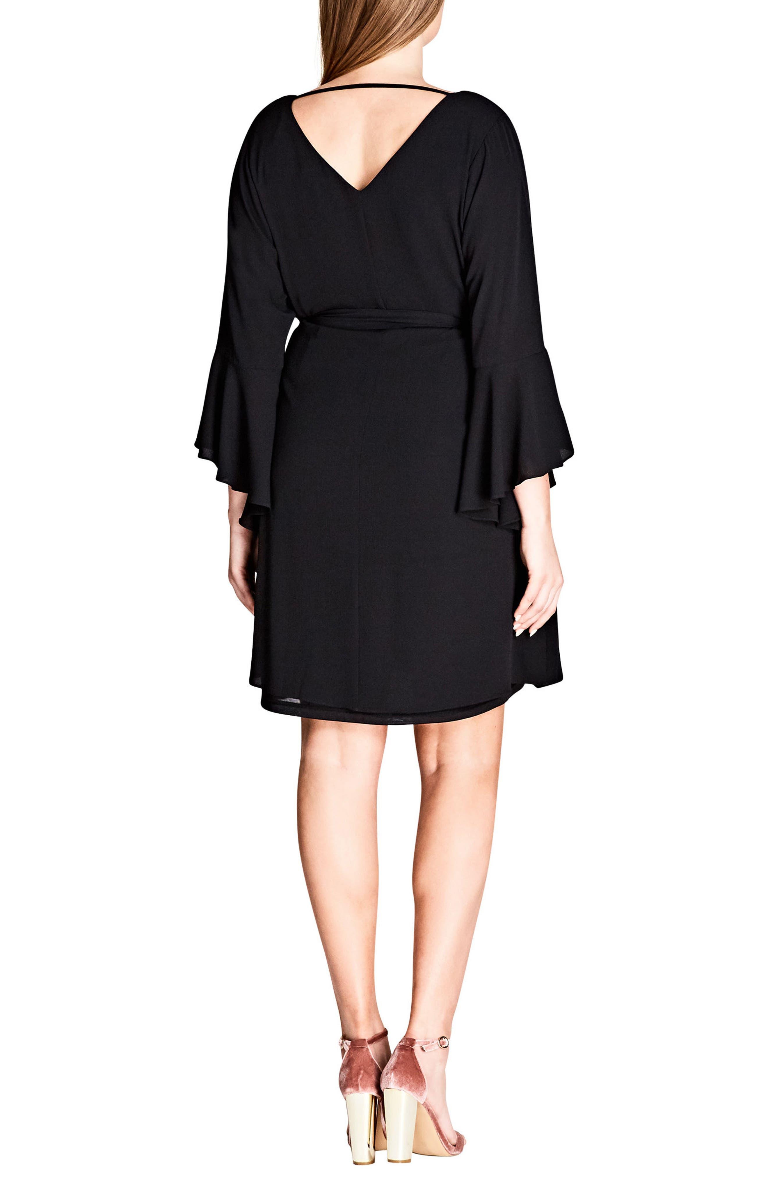 Tie Waist Bell Sleeve Dress,                             Alternate thumbnail 2, color,                             BLACK