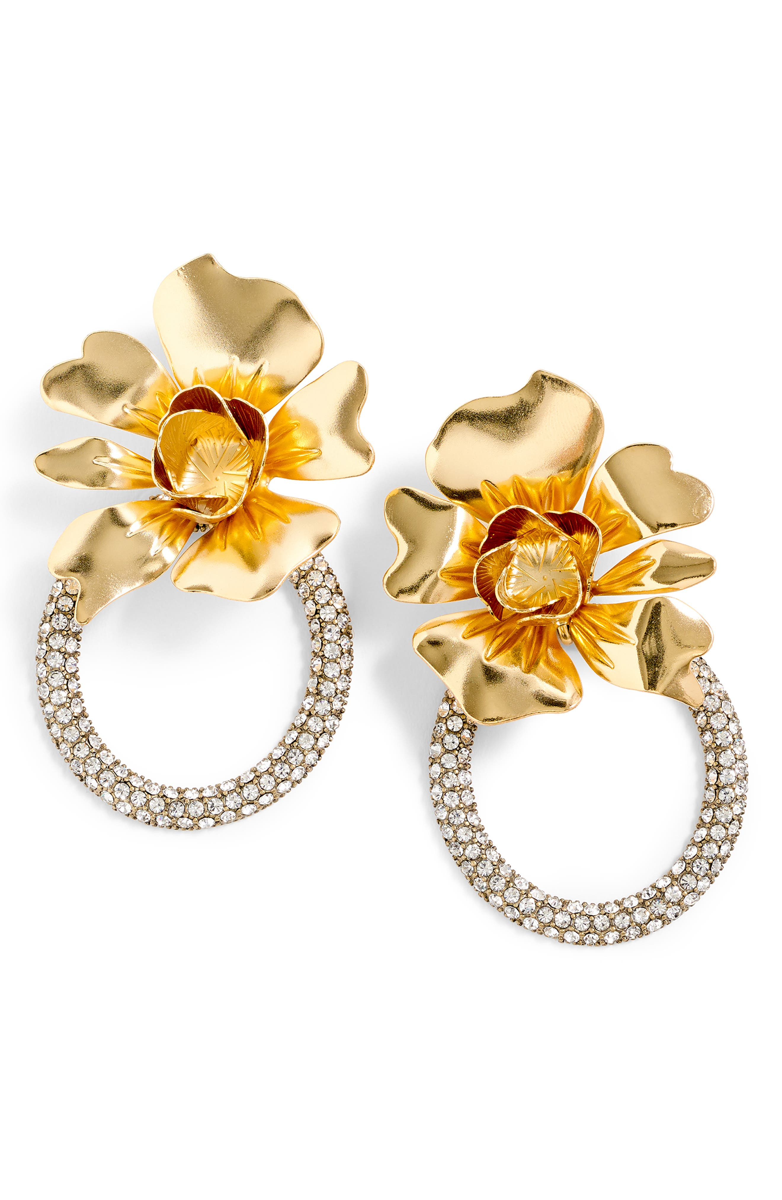 Flower & Crystal Door Knocker Earrings