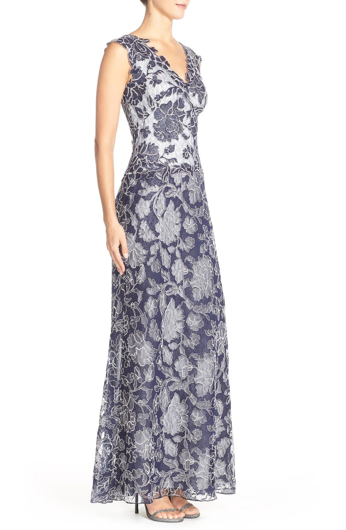 Embroidered Lace Gown,                             Alternate thumbnail 3, color,                             428